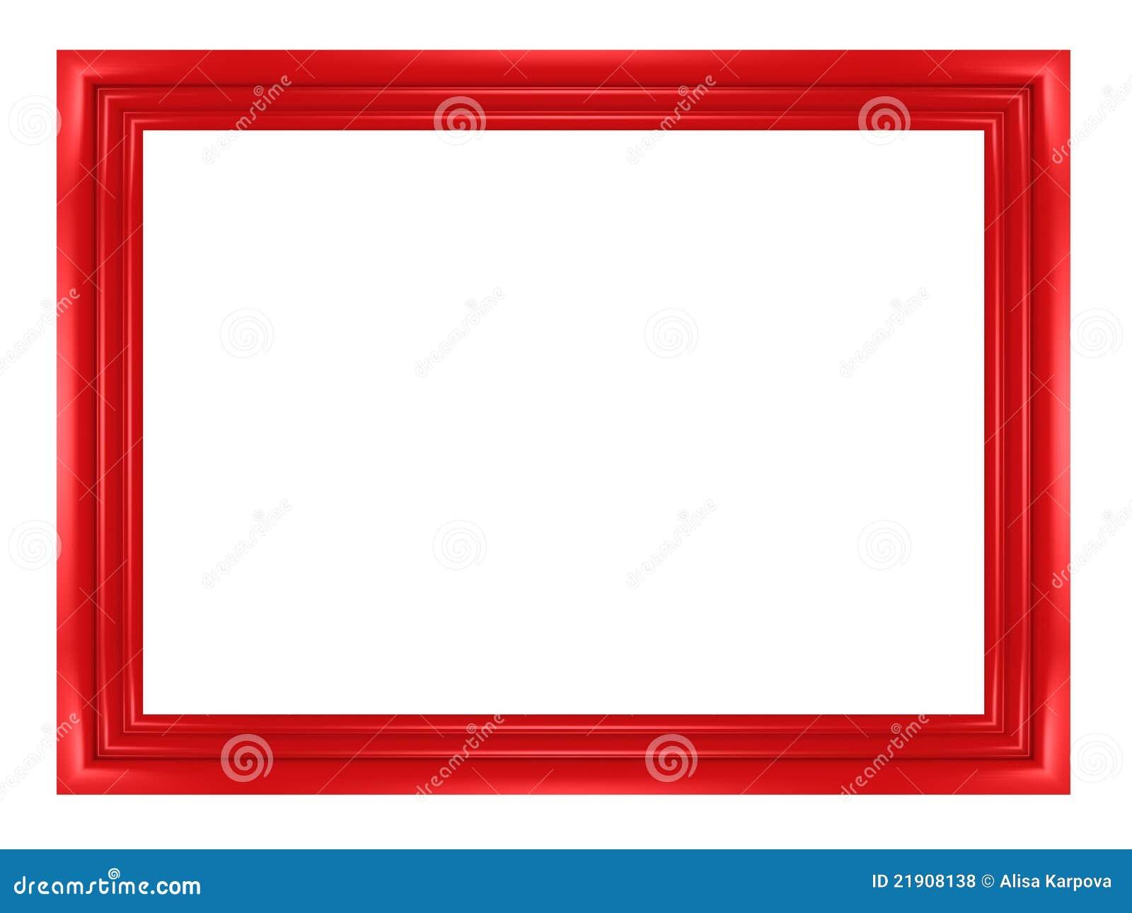 Marco rojo en blanco para los cuadros y las fotos stock de Marcos de cuadros blancos