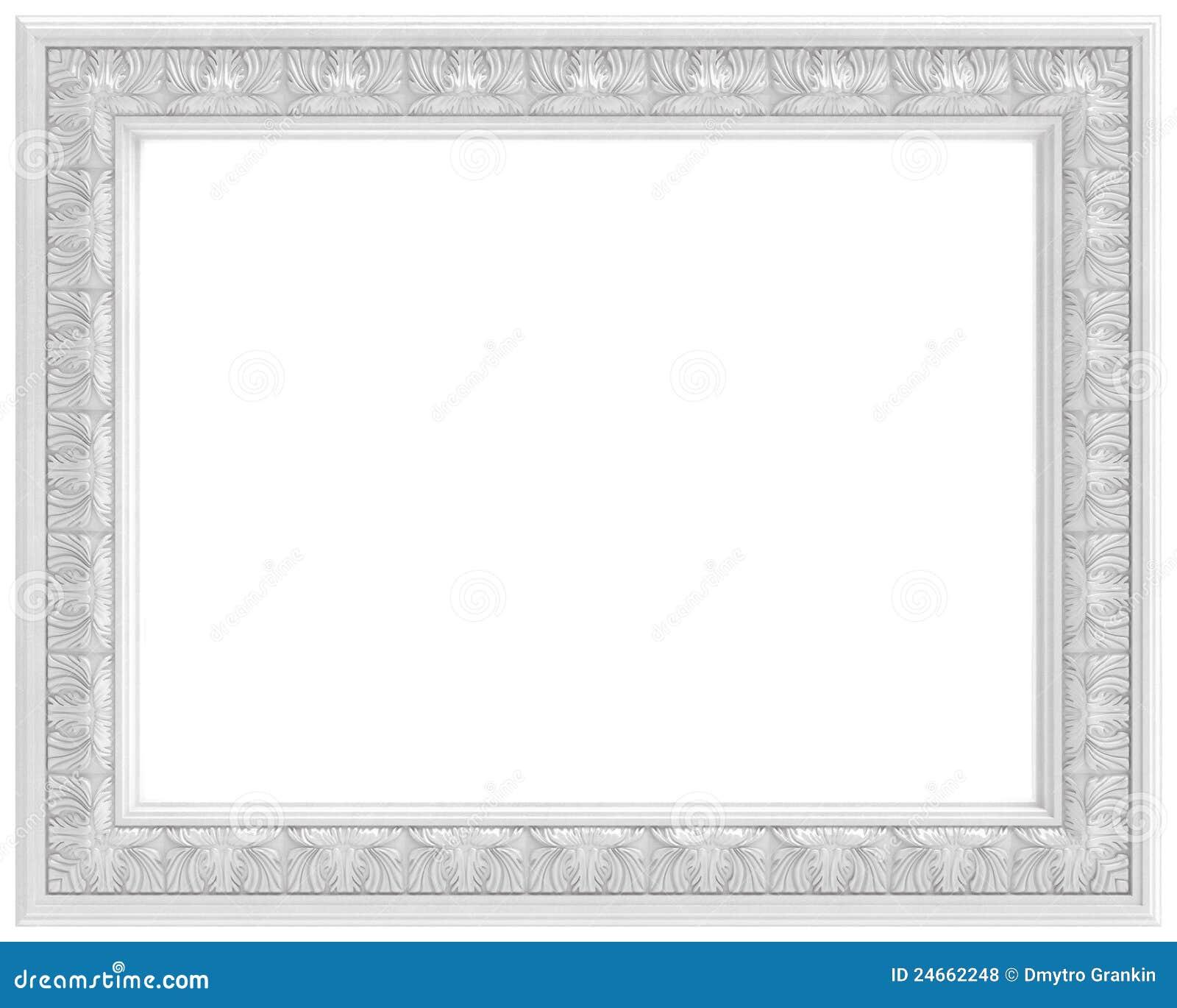 Marco tallado blanco para el cuadro aislado en blanco Marcos de cuadros blancos