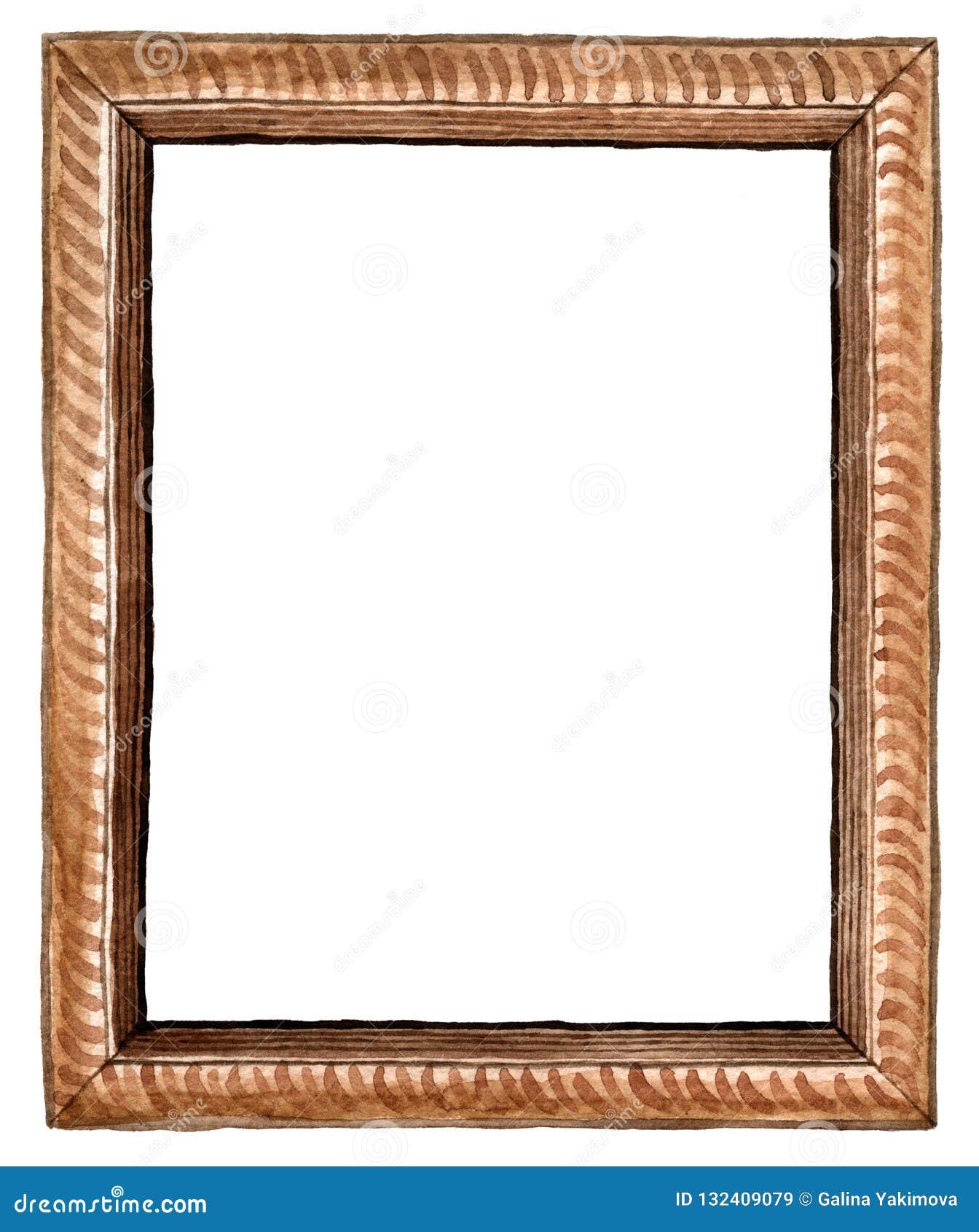 Marco tallado de madera marrón rectangular de la acuarela - ejemplo pintado a mano aislado en el fondo blanco