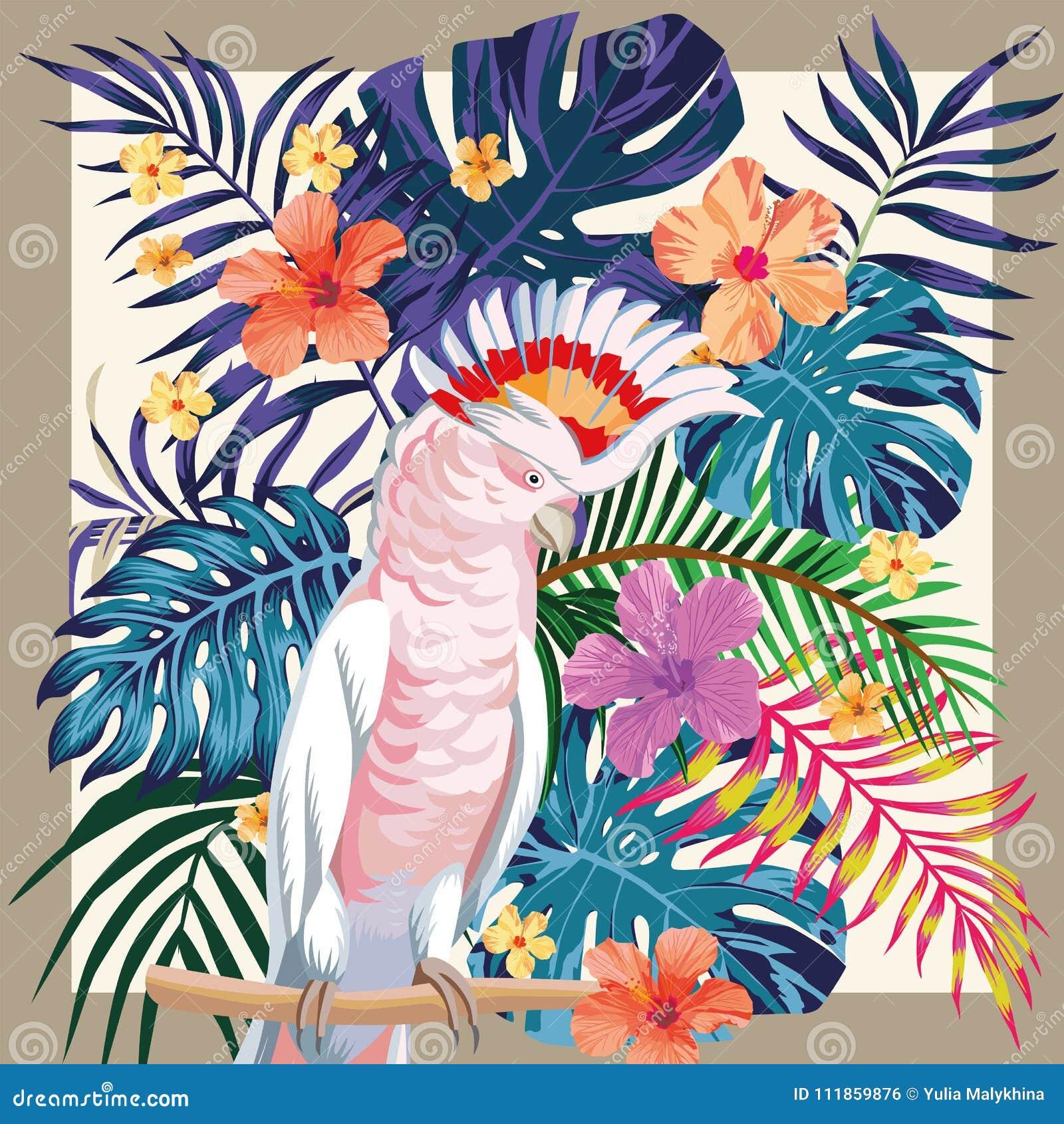 Marco tropical del modelo del color abstracto del loro