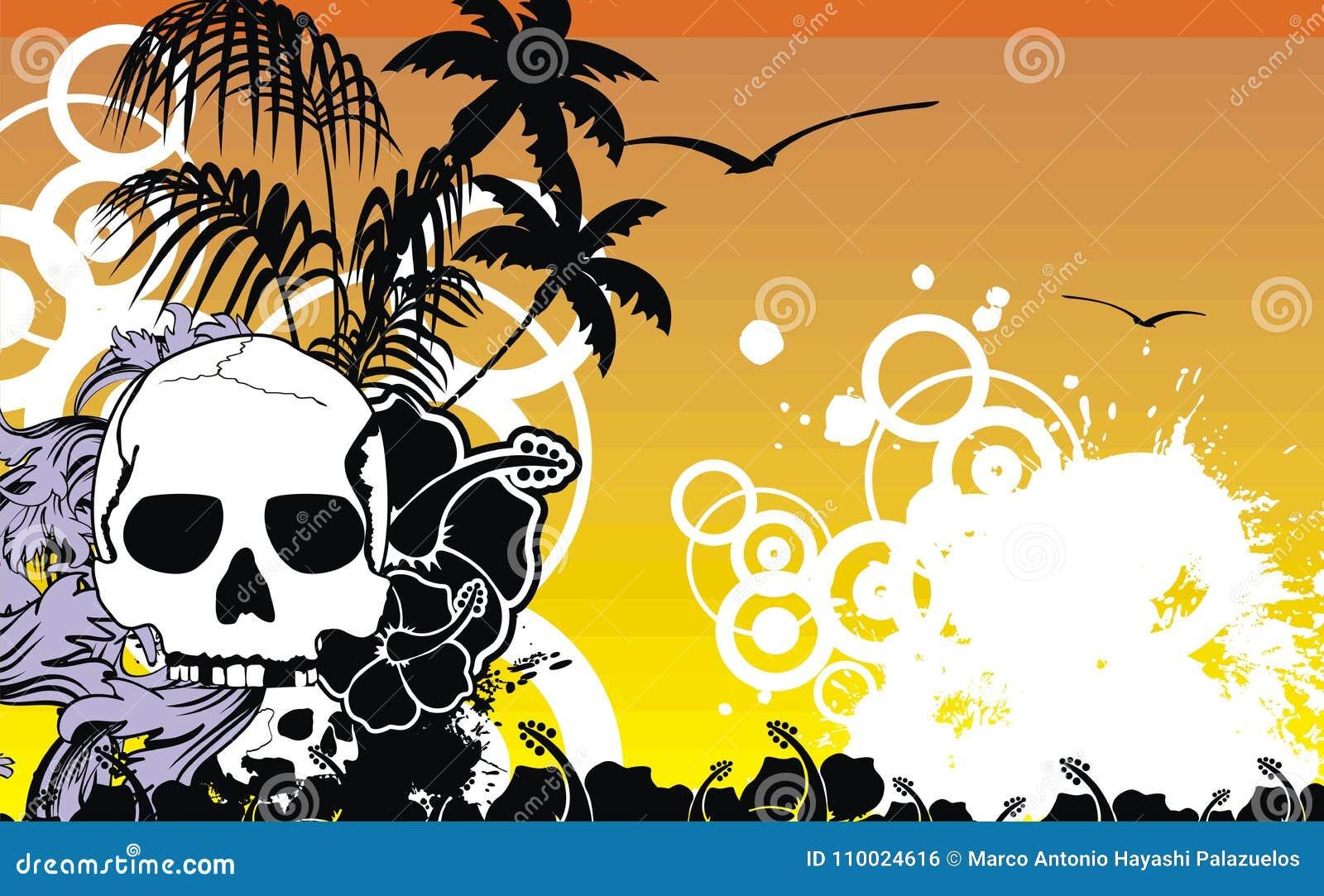 Marco Tropical Hawaiano Background3 Del Cráneo De La Playa ...