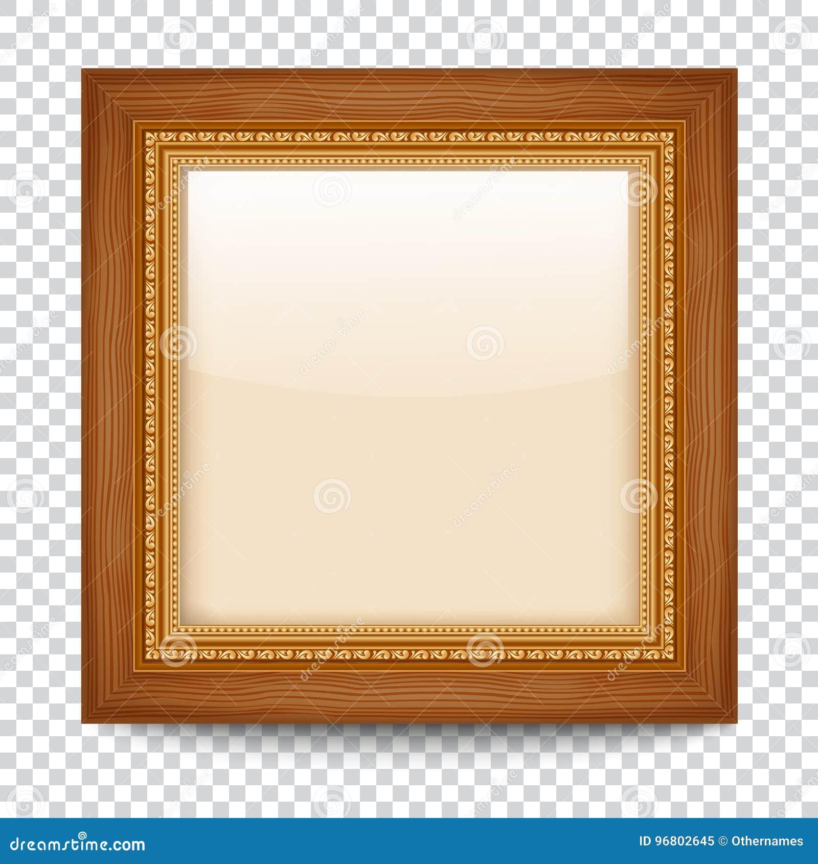 Marco vac o del oro en fondo transparente marco de madera - Marcos transparentes ...