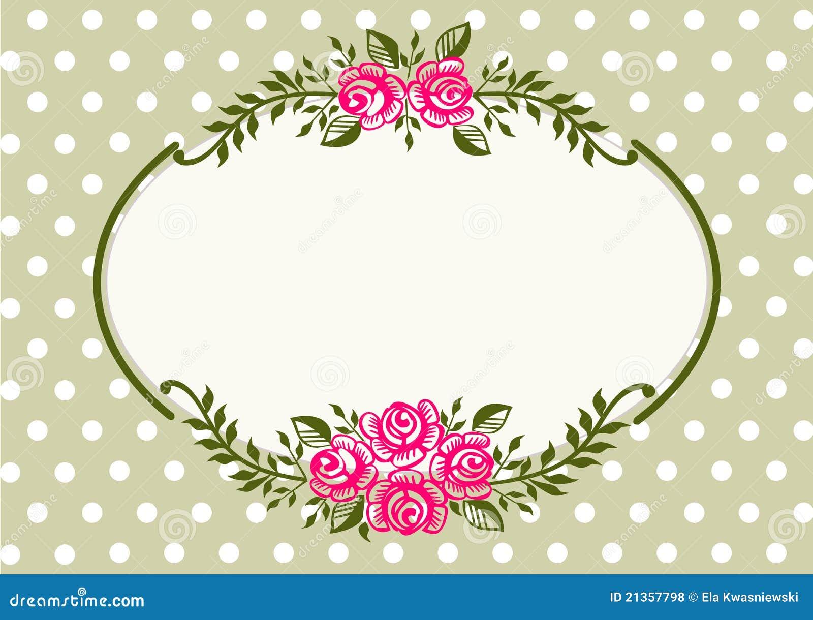 Marco verde de las rosas de la vendimia