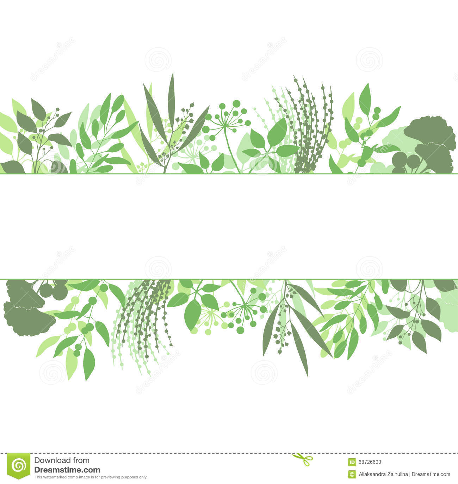 Marco verde del rect ngulo con la colecci n de plantas - Marcos para plantas ...