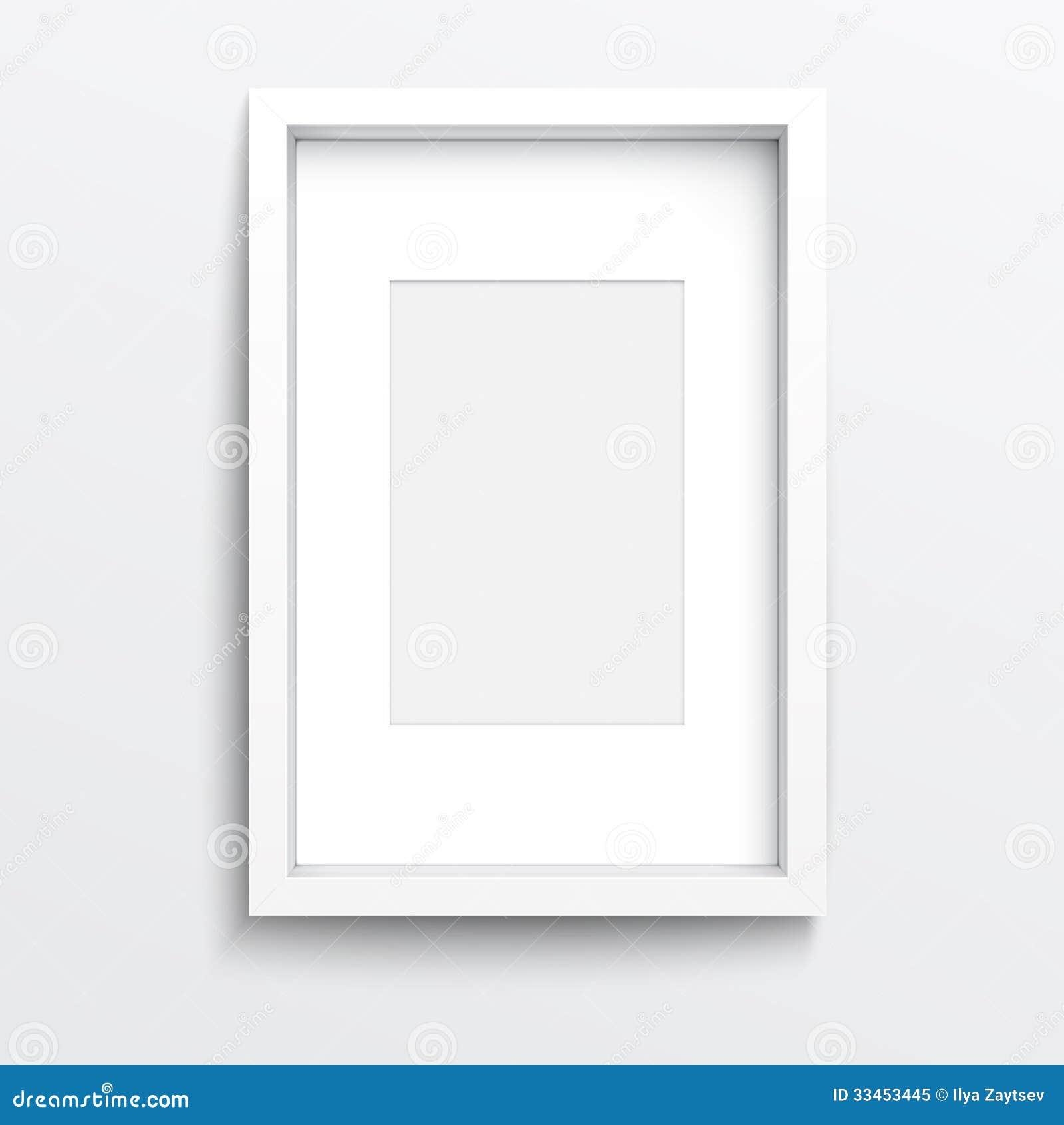 Marco Vertical Blanco En La Pared Gris. Ilustración del Vector ...