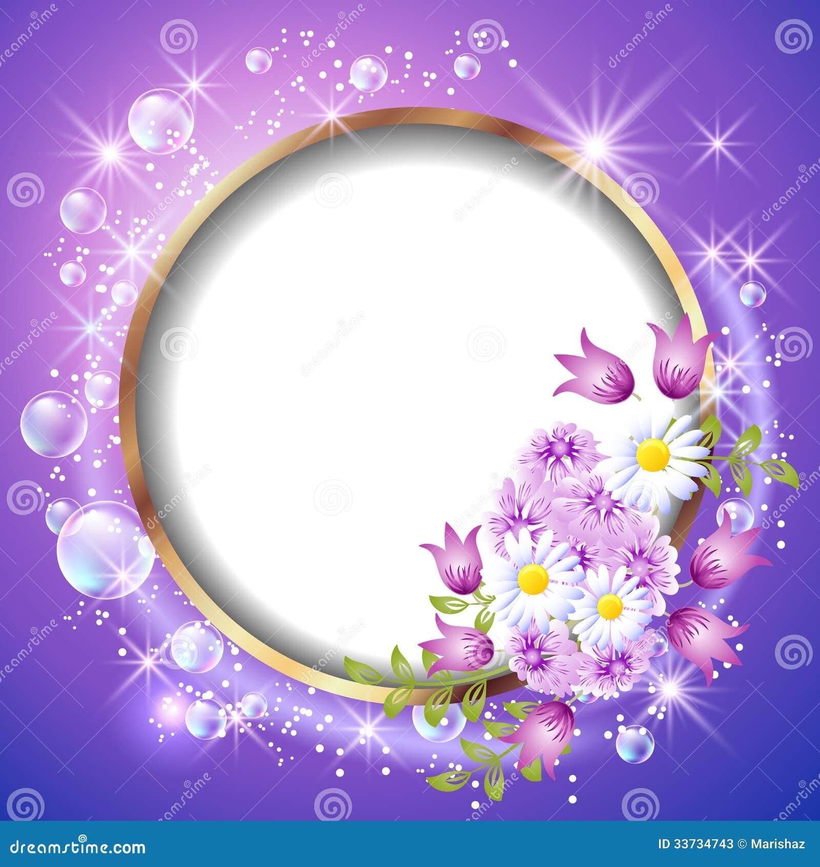 Marco y flores redondos ilustración del vector. Ilustración de ...