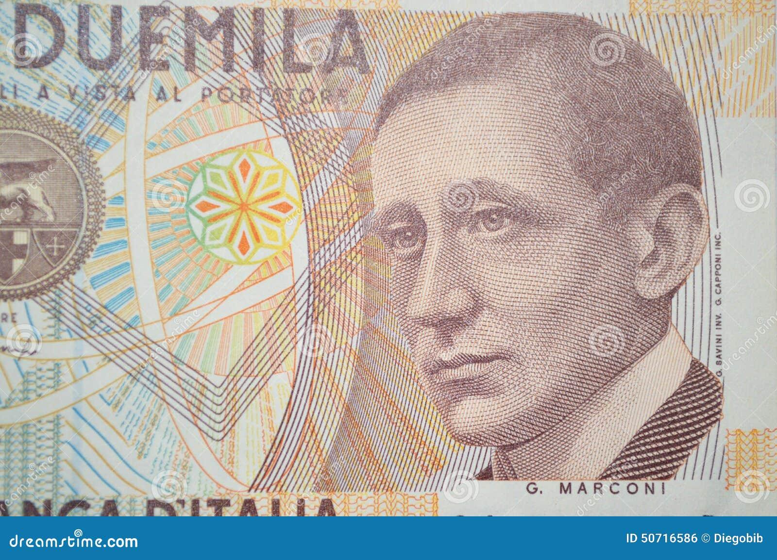 Marconi Włoski nowator na 2000 lirach banknotów