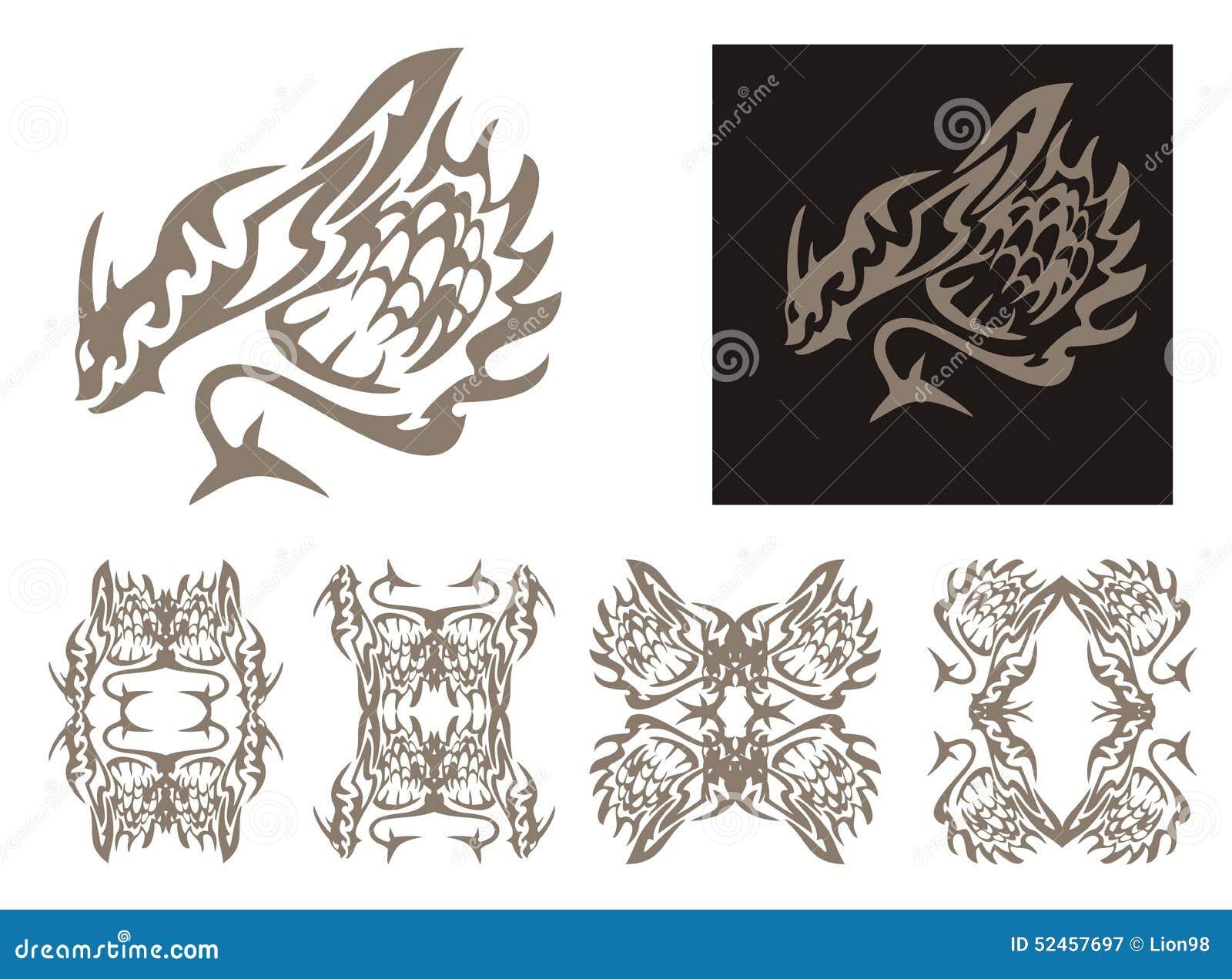 Marcos De Cuernos Tribales Del Dragón Y De Los Dragones Ilustración ...