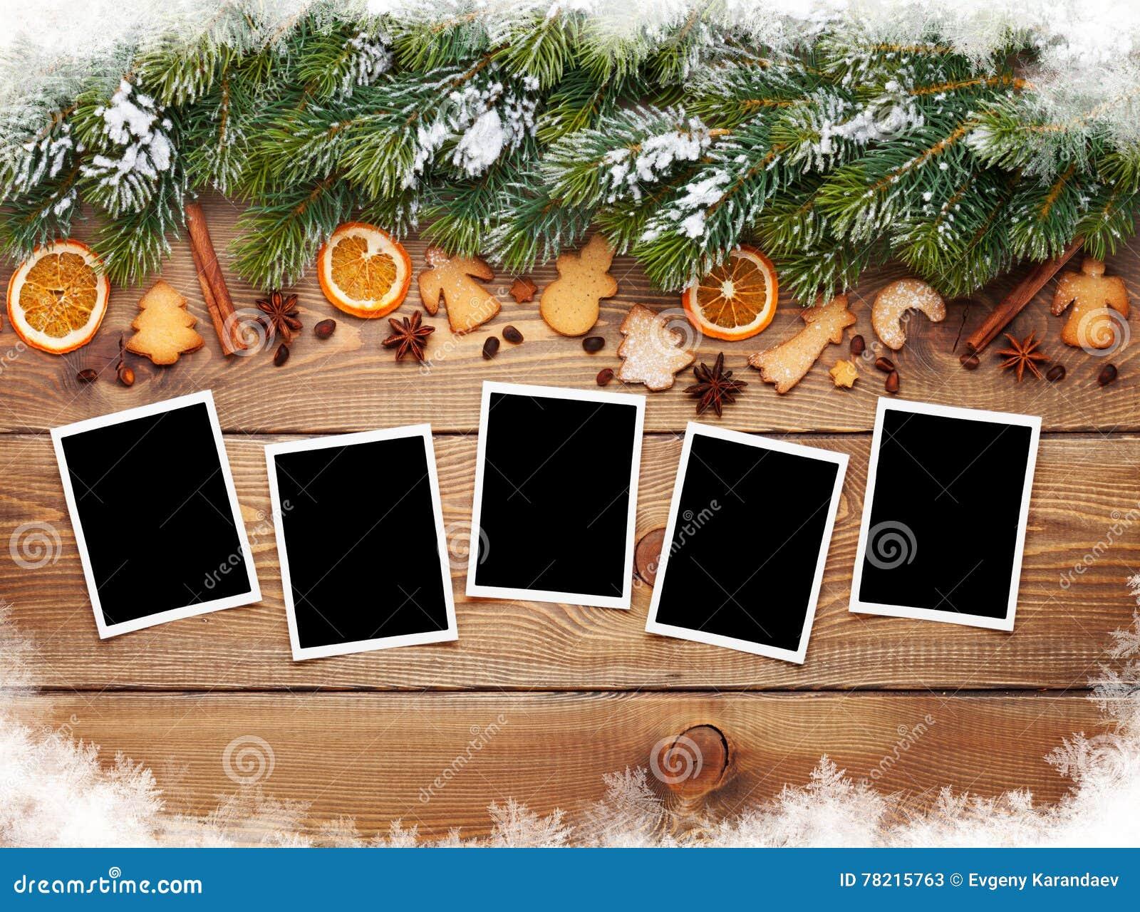 Marcos de la foto de la Navidad, árbol, galletas