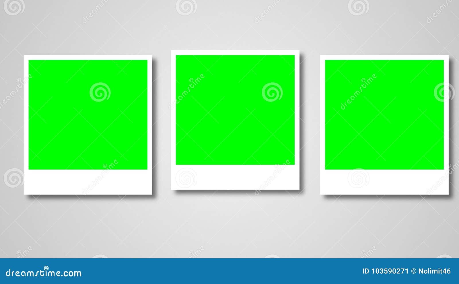 Marcos De Las Polaroides Con La Pantalla Verde Para Su Foto Stock de ...
