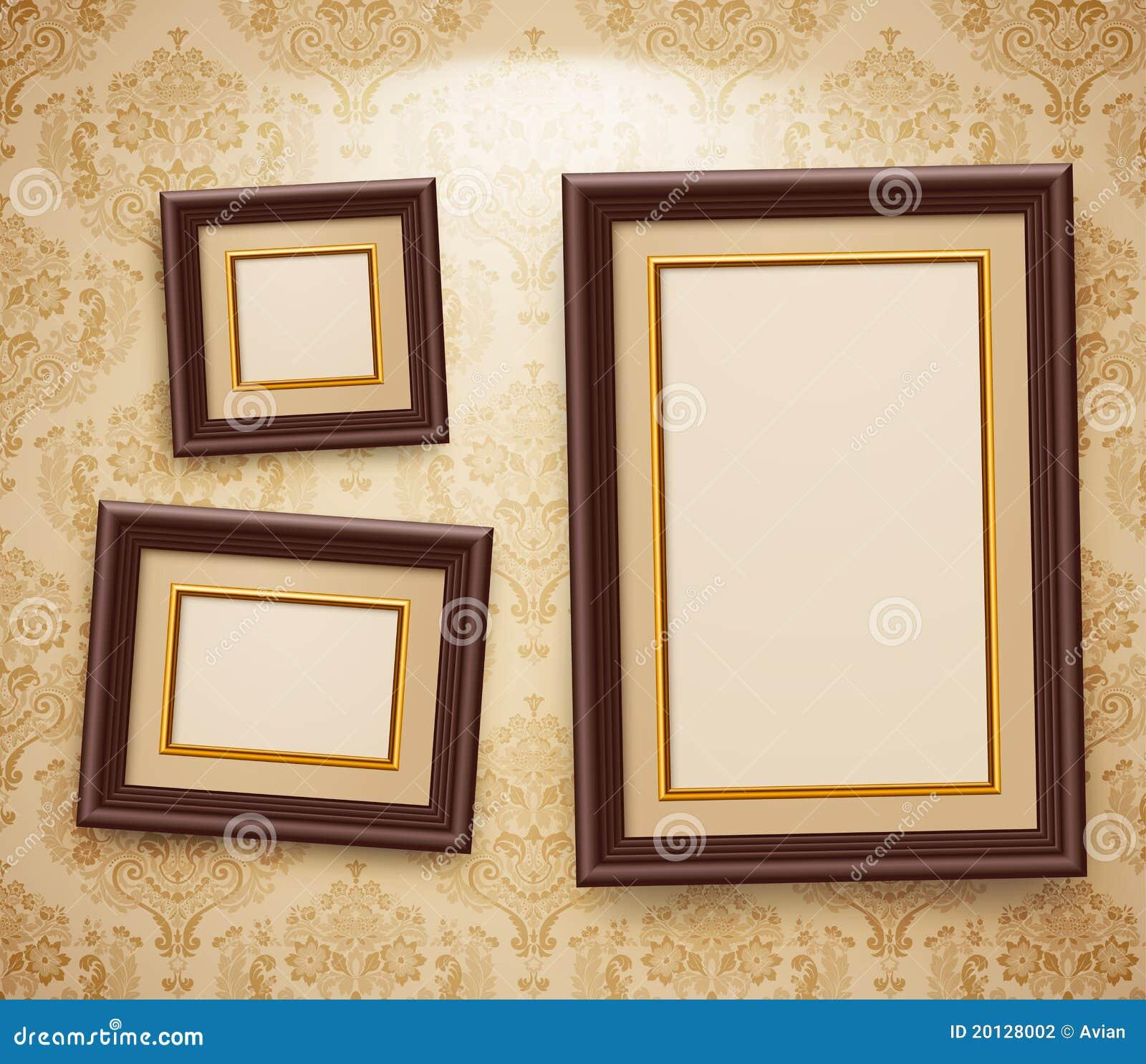 Marcos de madera en el wal ilustración del vector. Ilustración de ...