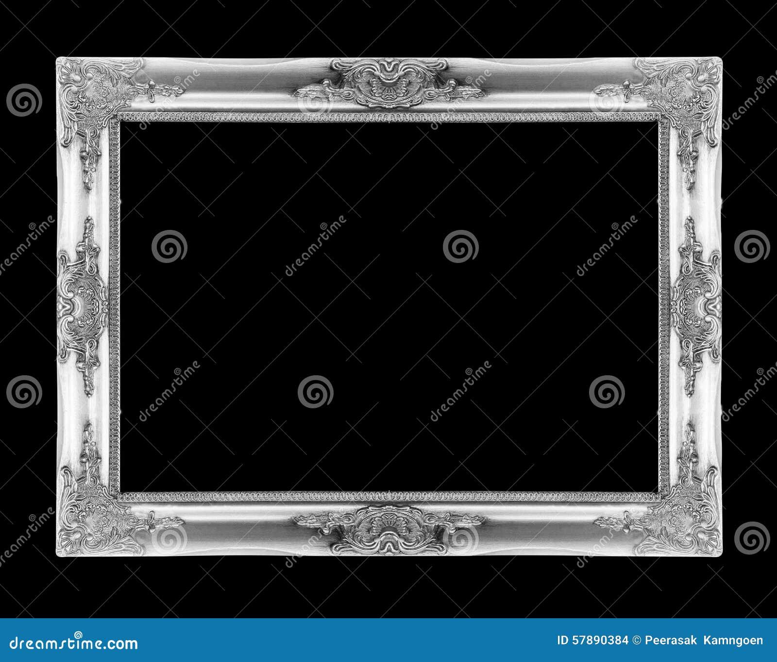 Marcos de plata Aislado en negro