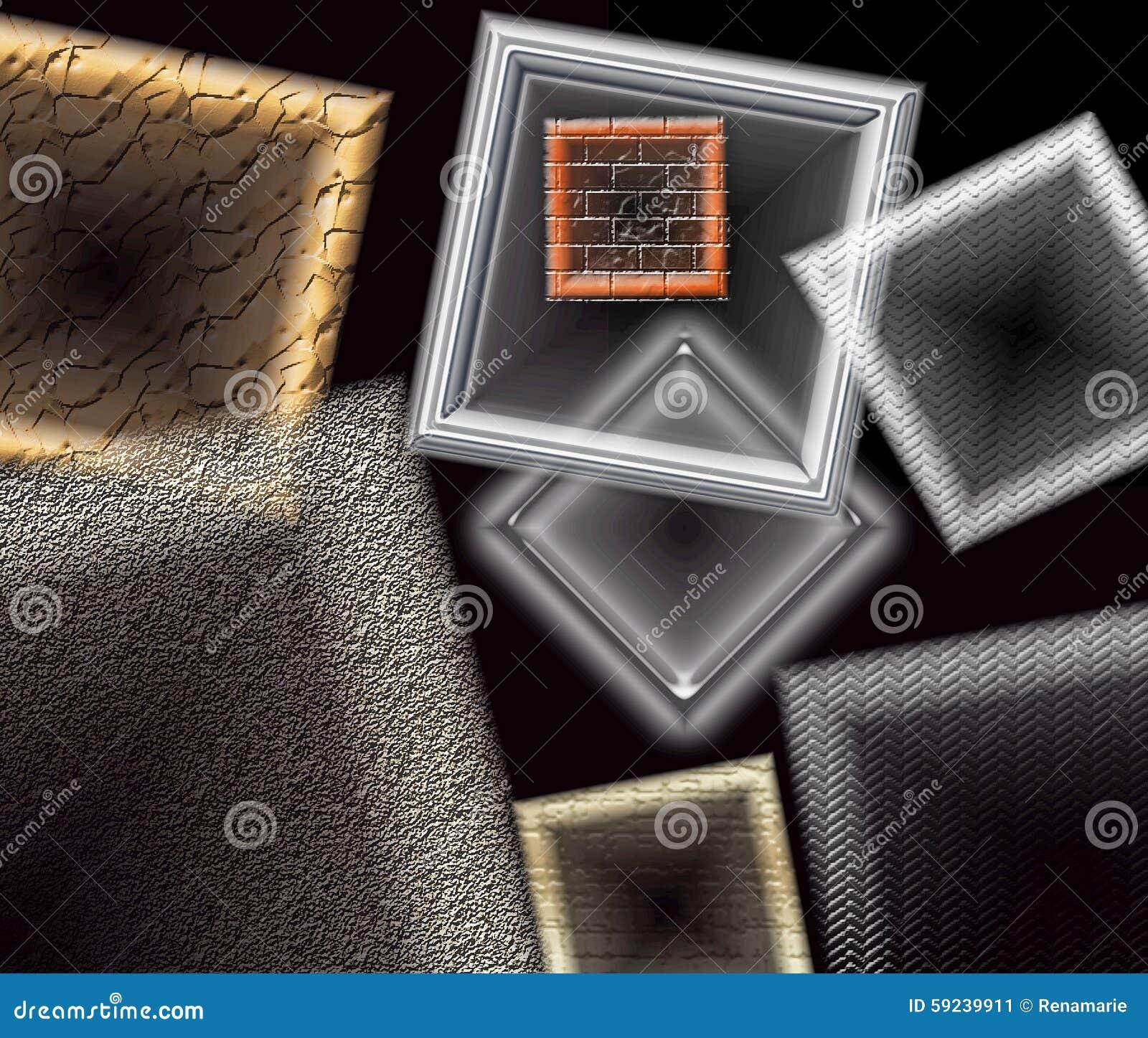 Marcos de ventana y formas geométricas que flotan contra un fondo negro