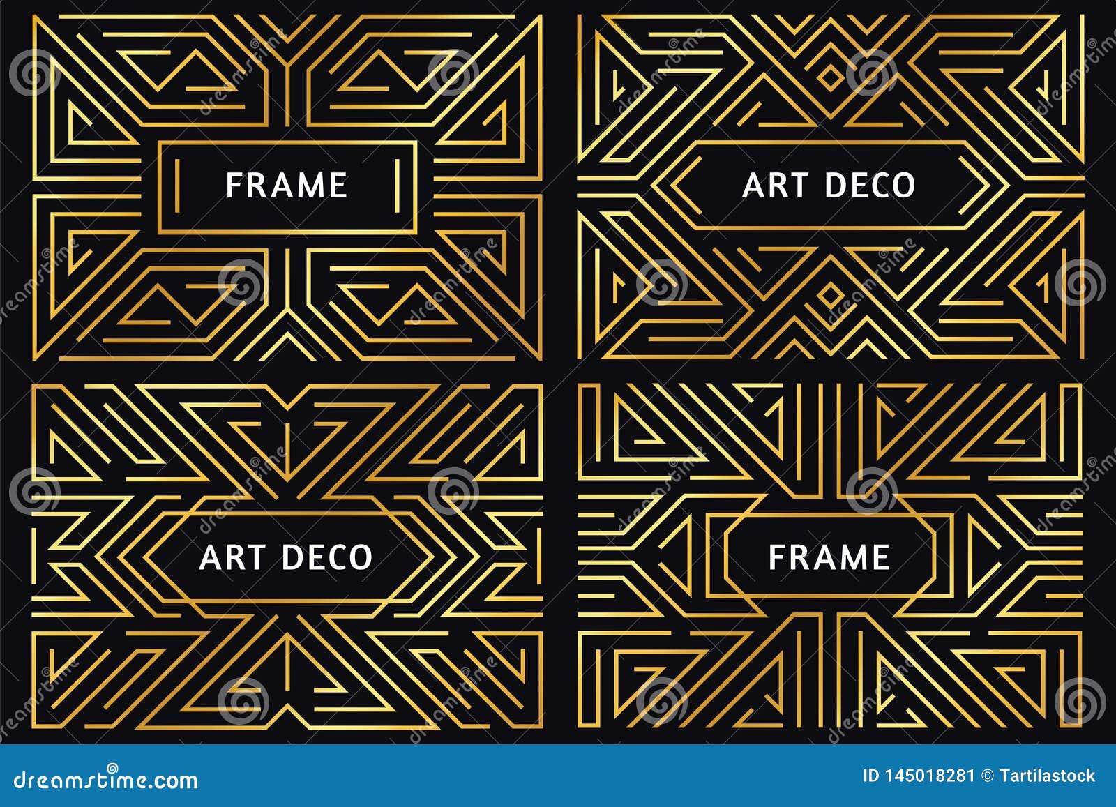Marcos del art d?co L?nea de oro frontera, ornamento decorativo del oro y vector geom?trico abstracto de lujo del vintage de las
