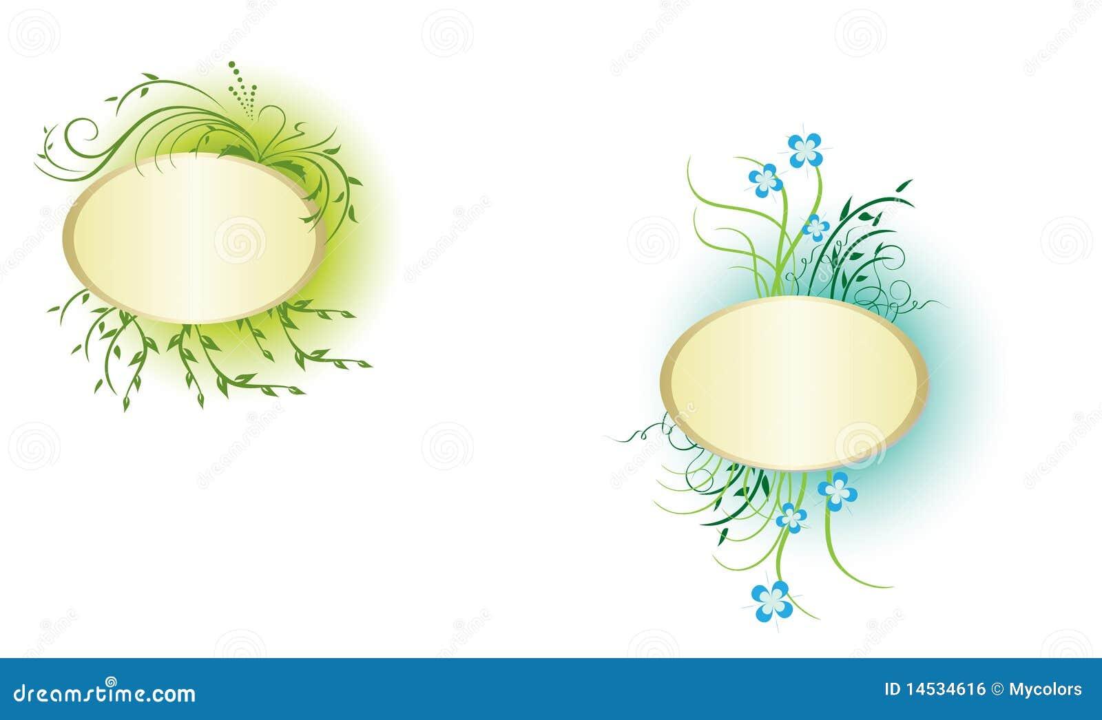 Marcos del vector dos con las plantas verdes imagen de - Marcos para plantas ...