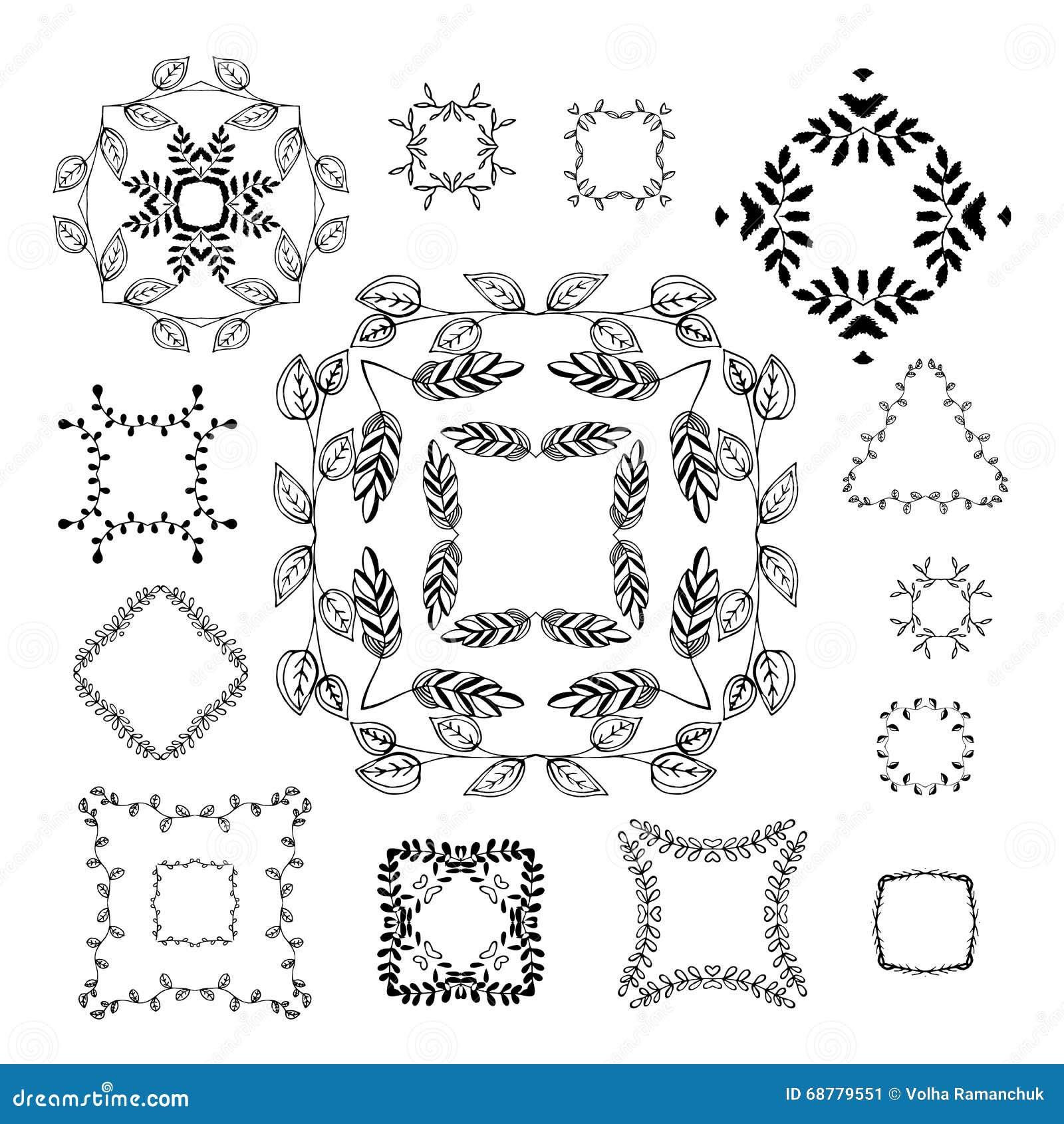 Marcos dibujados mano ornamental para la decoraci n de la for Pagina de decoracion