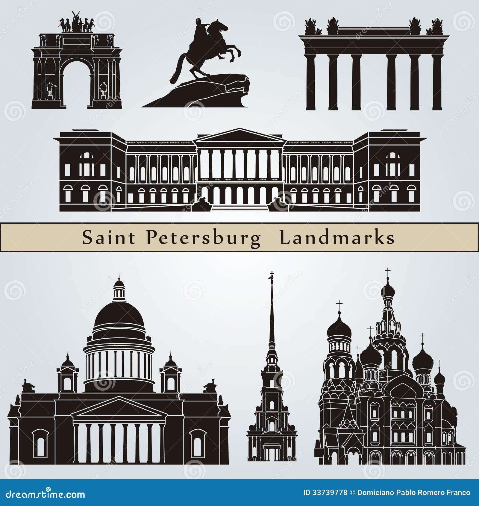 Marcos e monumentos de St Petersburg