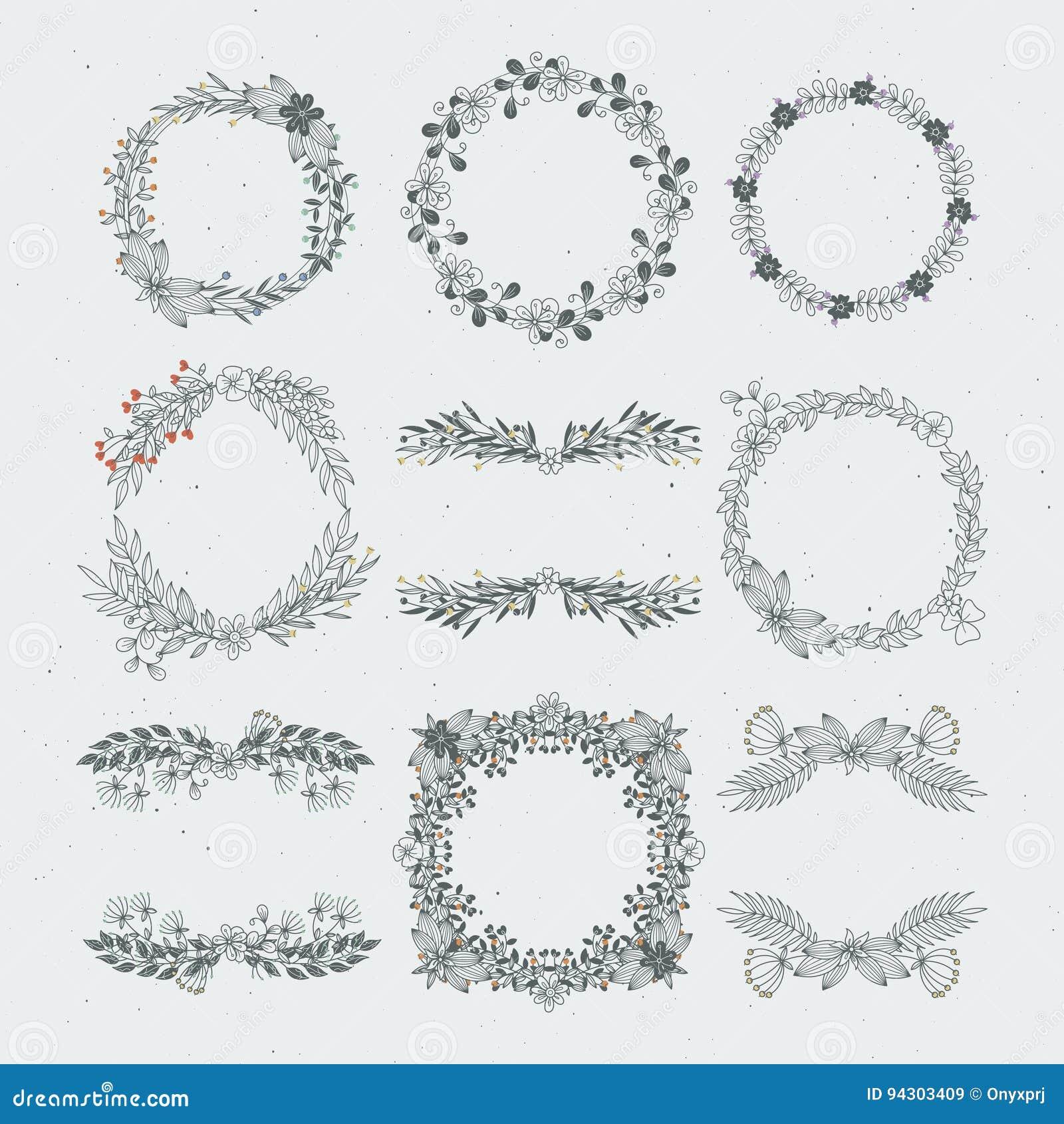 Marcos florales de diverso vector de ramas Ornamentos decorativos de la naturaleza
