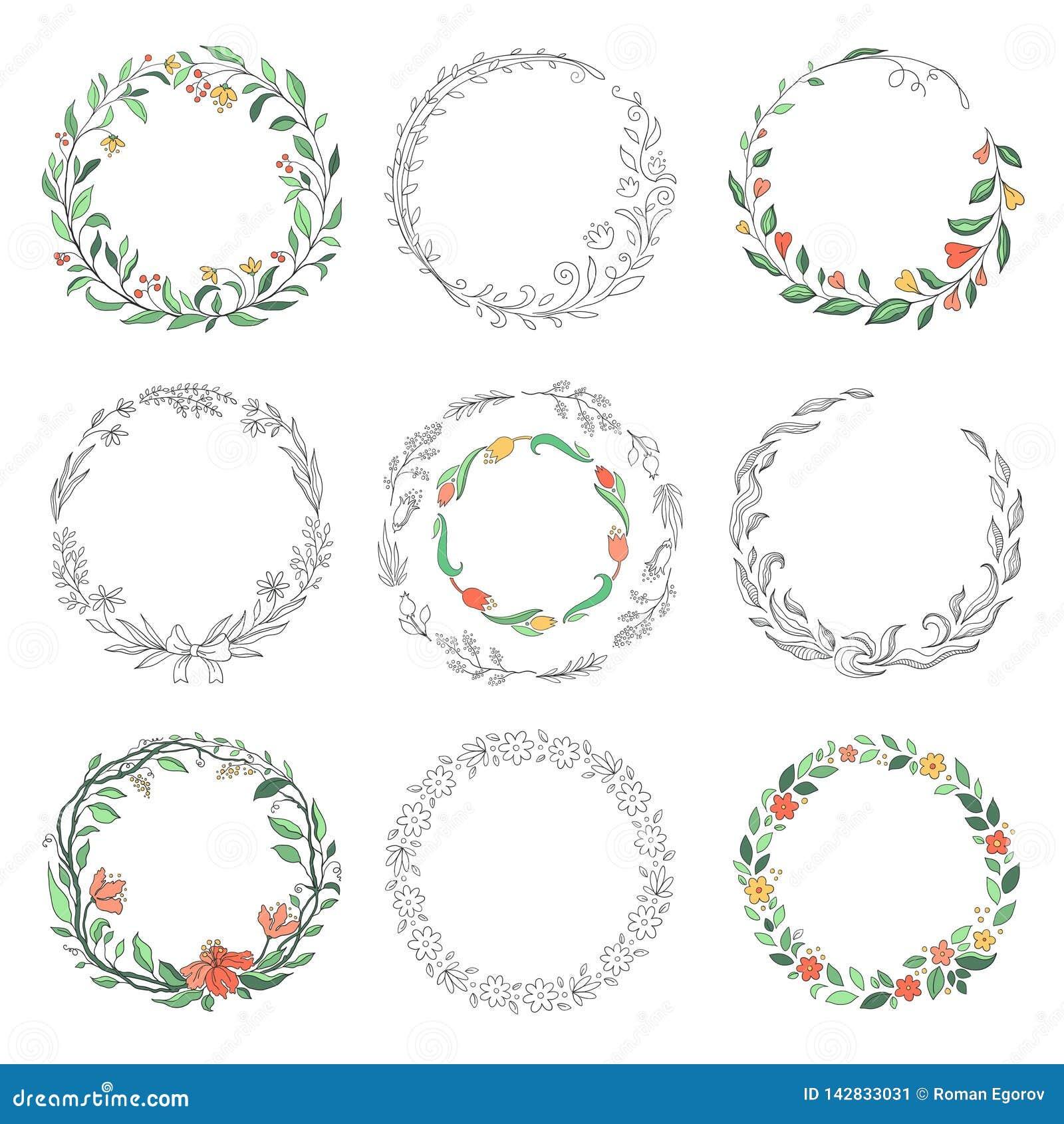 Marcos florales del garabato del círculo Fronteras redondas lineares exhaustas de la mano, elementos del diseño del vintage del f