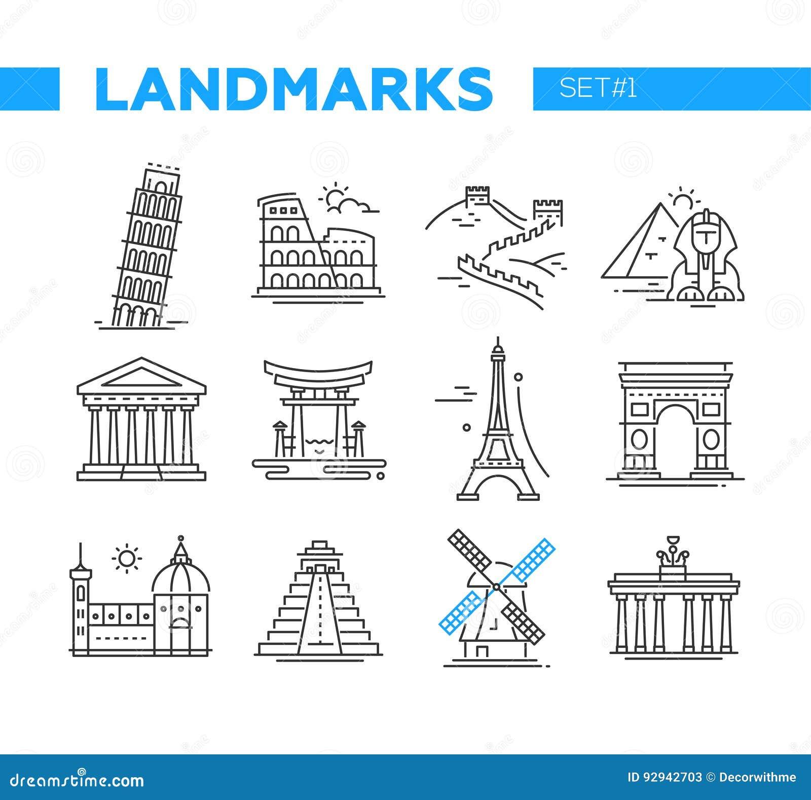 Marcos mundialmente famosos - linha ícones do projeto ajustados