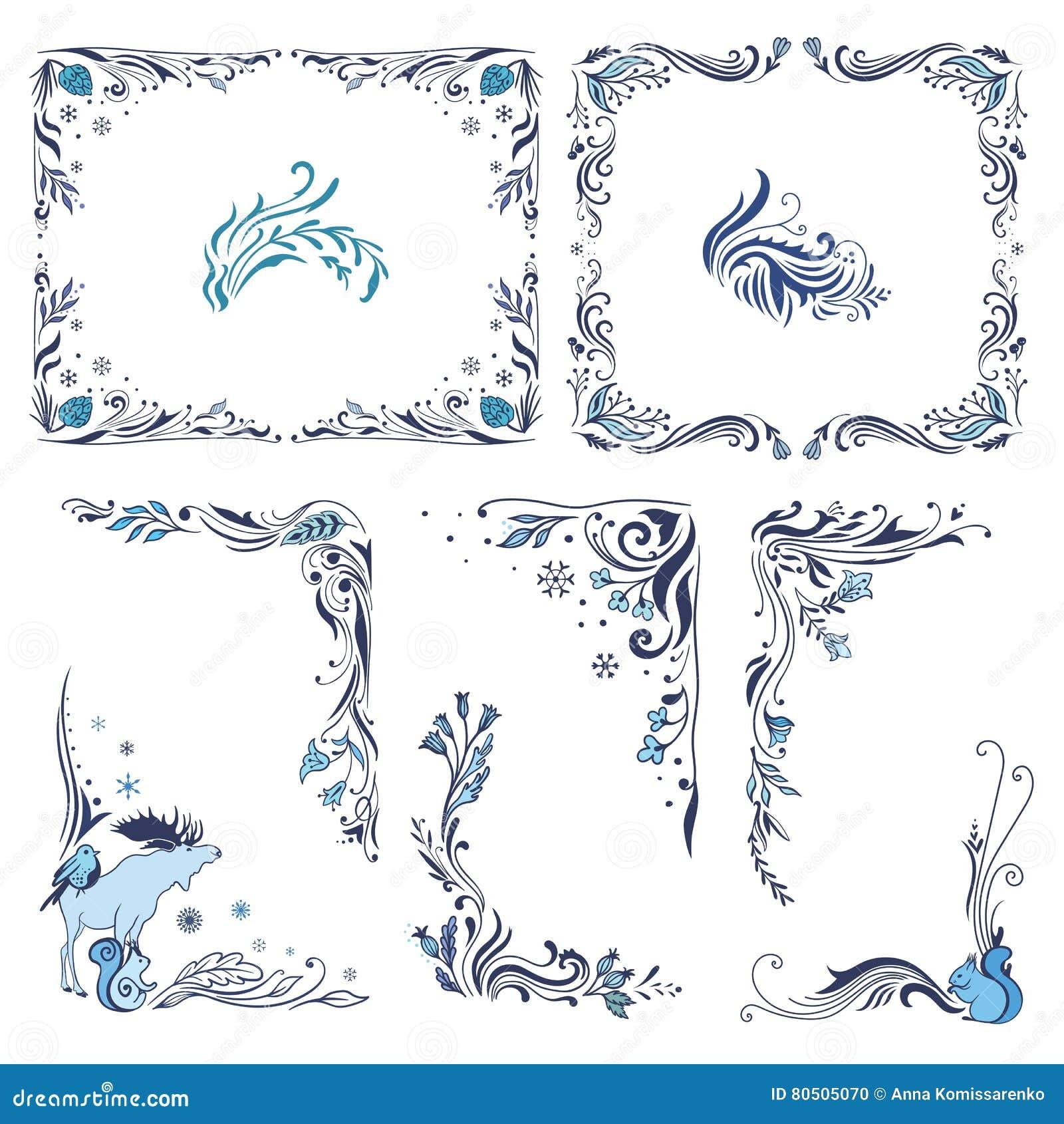 Marcos Y Esquinas Azules De La Navidad Ilustración del Vector ...
