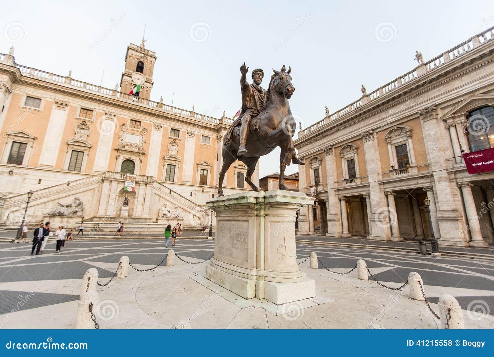 Marcus Aurelius Statue On Piazza Del Campidoglio In Rome Royalty Free Stock  Photos