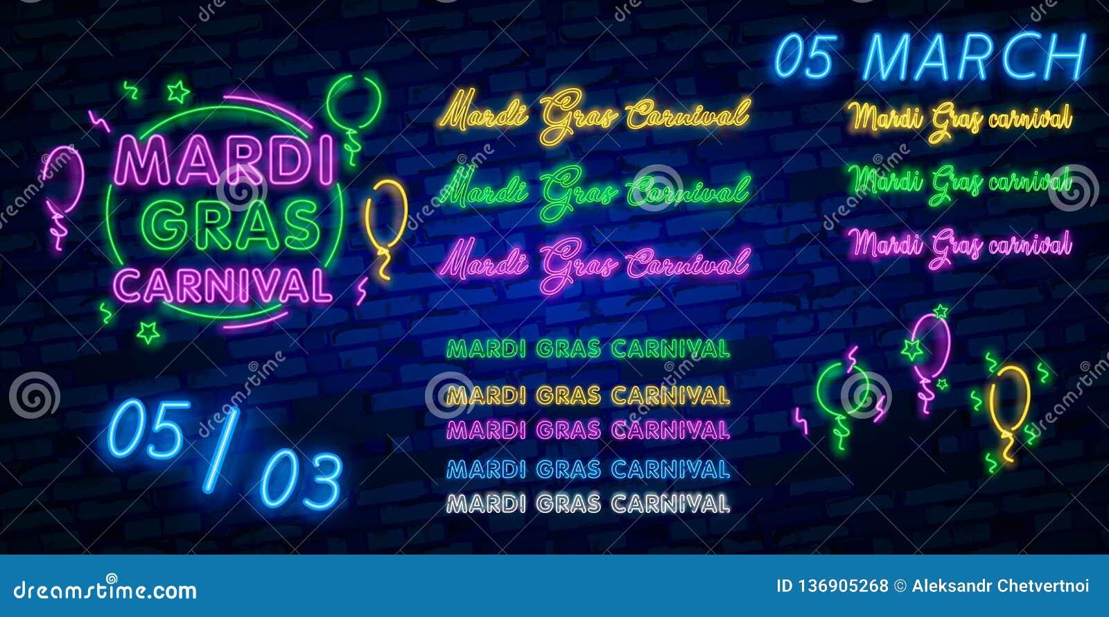 Mardi Gras är ett neontecken Ljust glödande baner, neonaffischtavla, neonadvertizing av karnevalet Fet tisdag designmall,