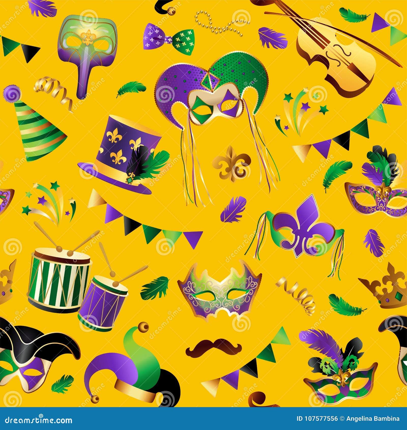 Mardi Gras πρότυπο άνευ ραφής Πρότυπο με τις χρυσές μάσκες καρναβαλιού στο υπόβαθρο Ακτινοβολώντας εορτασμός εορταστικός διάνυσμα
