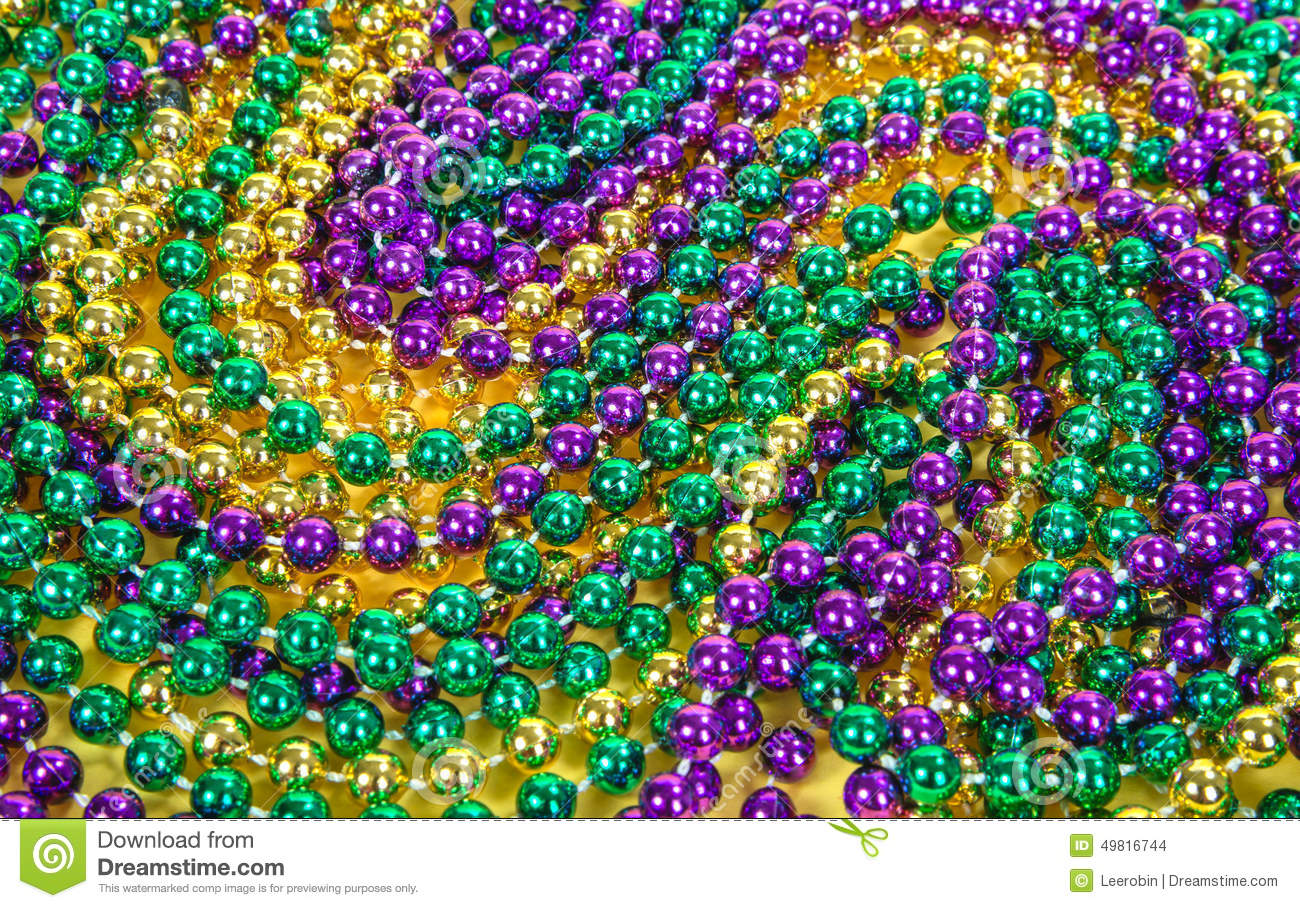 Mardi Gras Beads Background Stock Photo - Image: 49816744