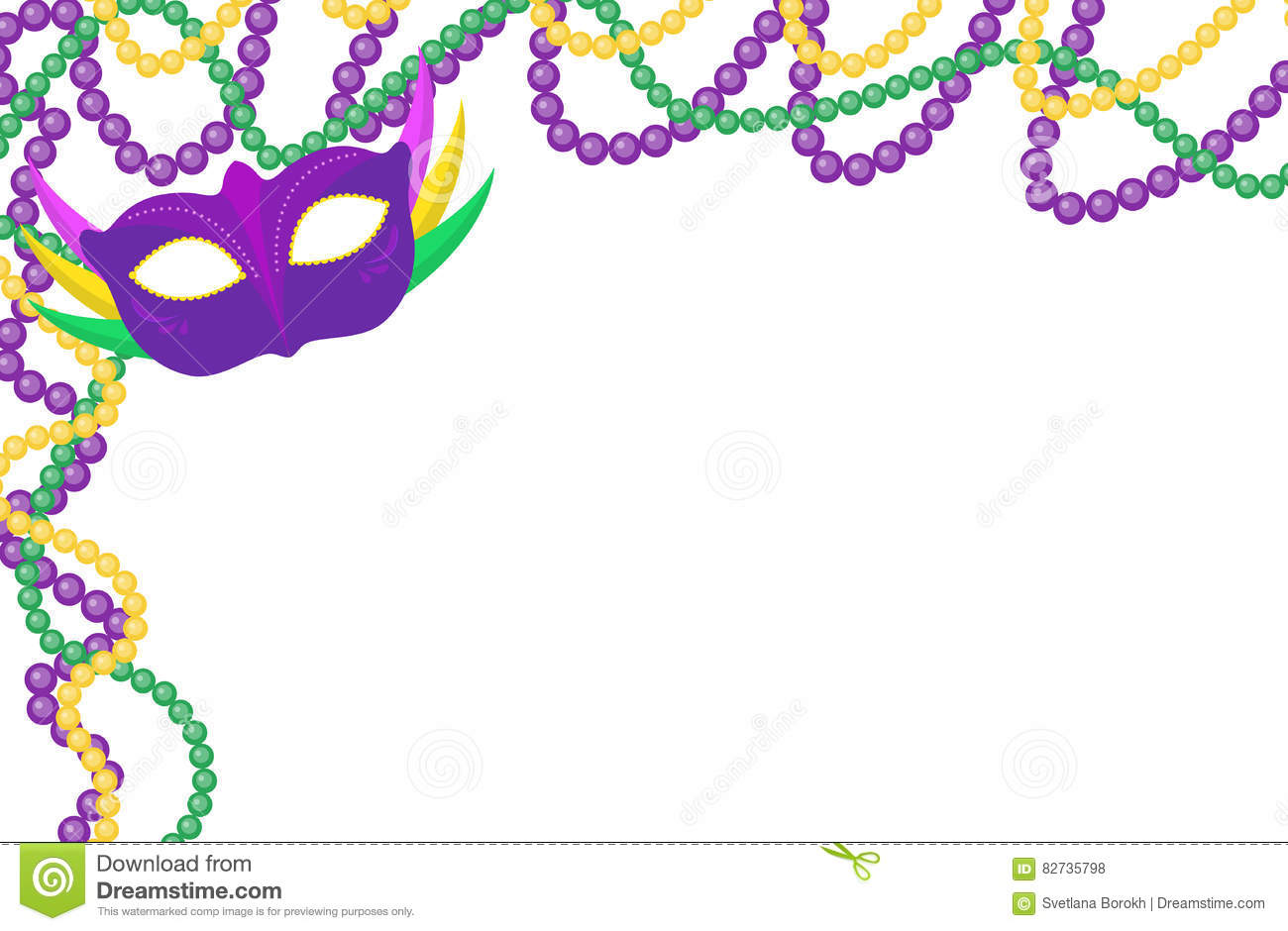 Mardi Gras Beads Colored Frame With A Mask Isolated On White