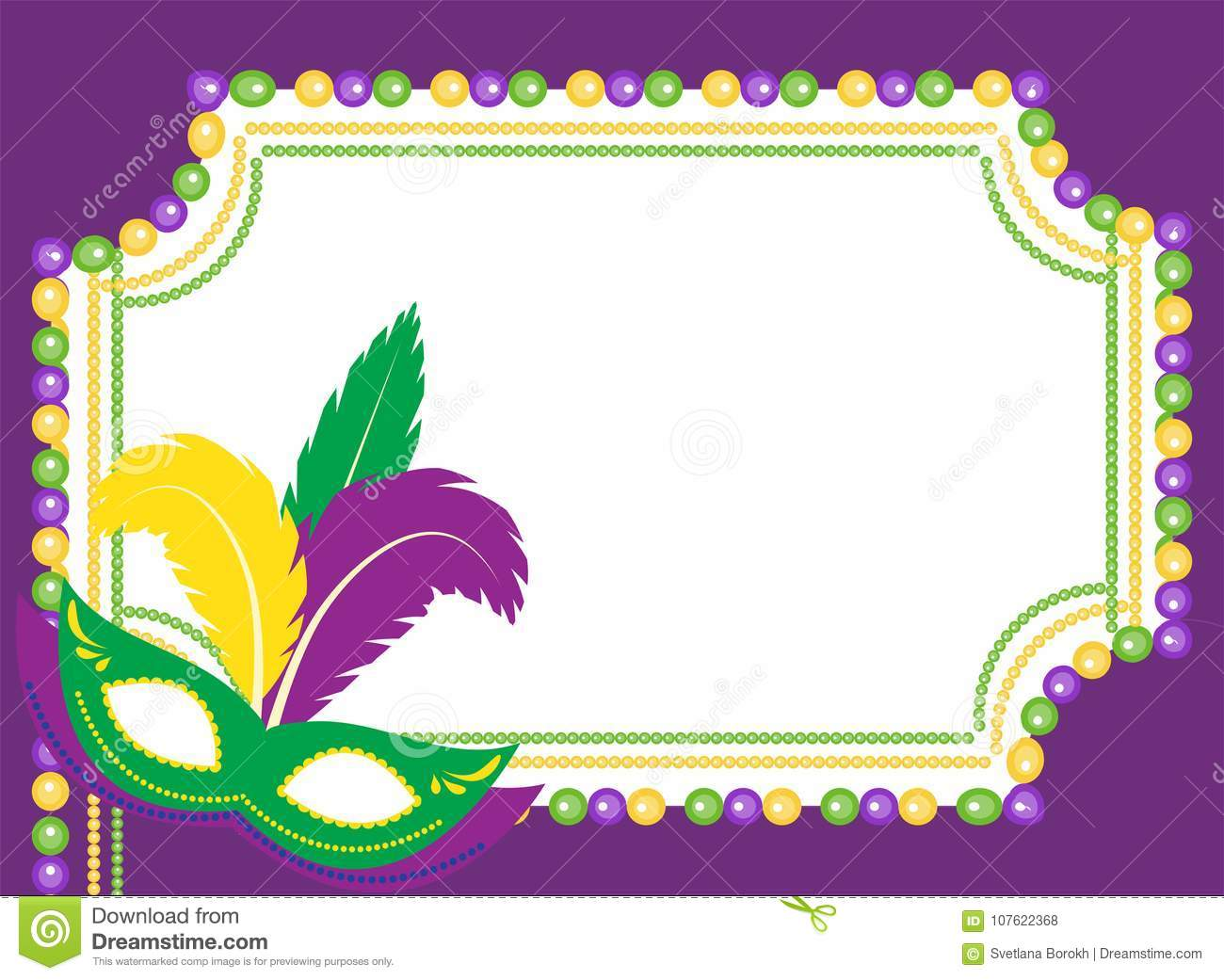 Mardi Gras Beads Colored Frame With A Mask, On White Background ...