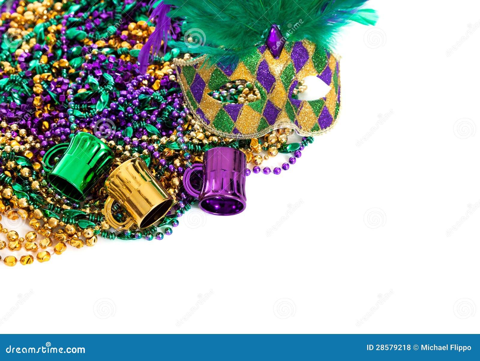 Mardi Gras Beads Border Clip Art Mardi gras beads on a white