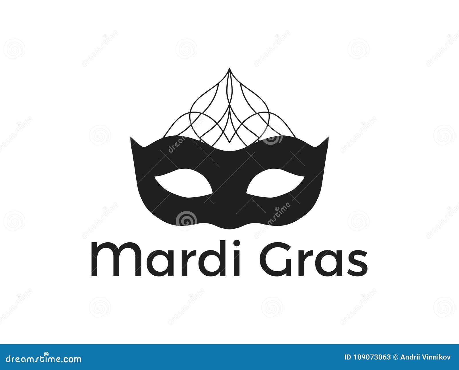 Mardi Gras Black Mask On White Background Festive Symbol Vector
