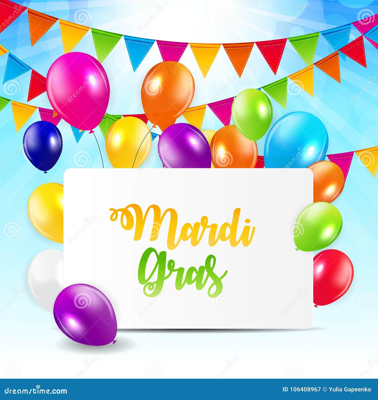 Mardi Gras Brochure Template.Celebration Greeting Card Backround. Vecor Illustration