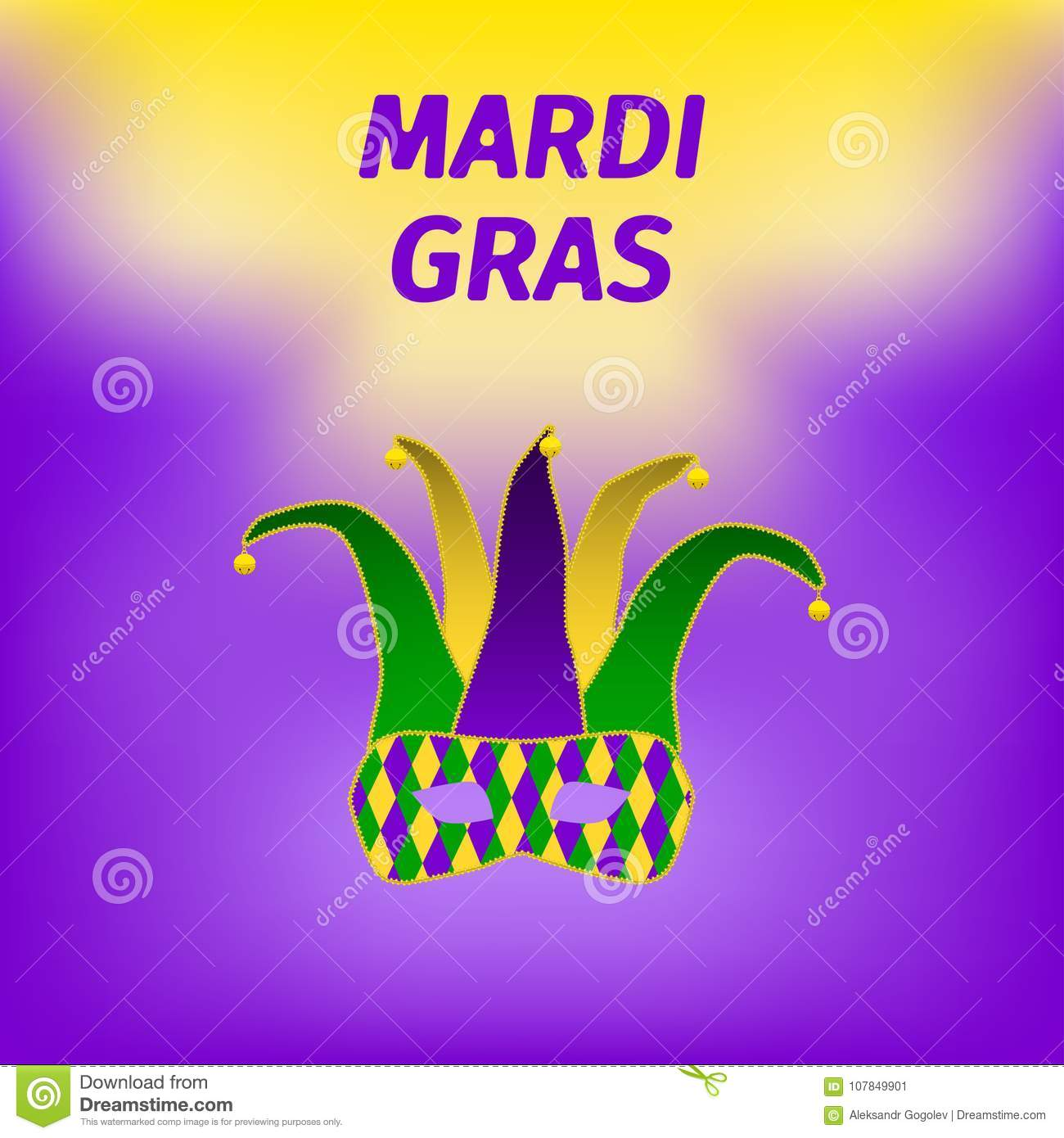 Mardi gras brochure stock vector illustration of fattuesday mardi gras brochure vector logo with hand drawn lettering and golden fat tuesday mask greeting card with shining beads on traditional colors background m4hsunfo