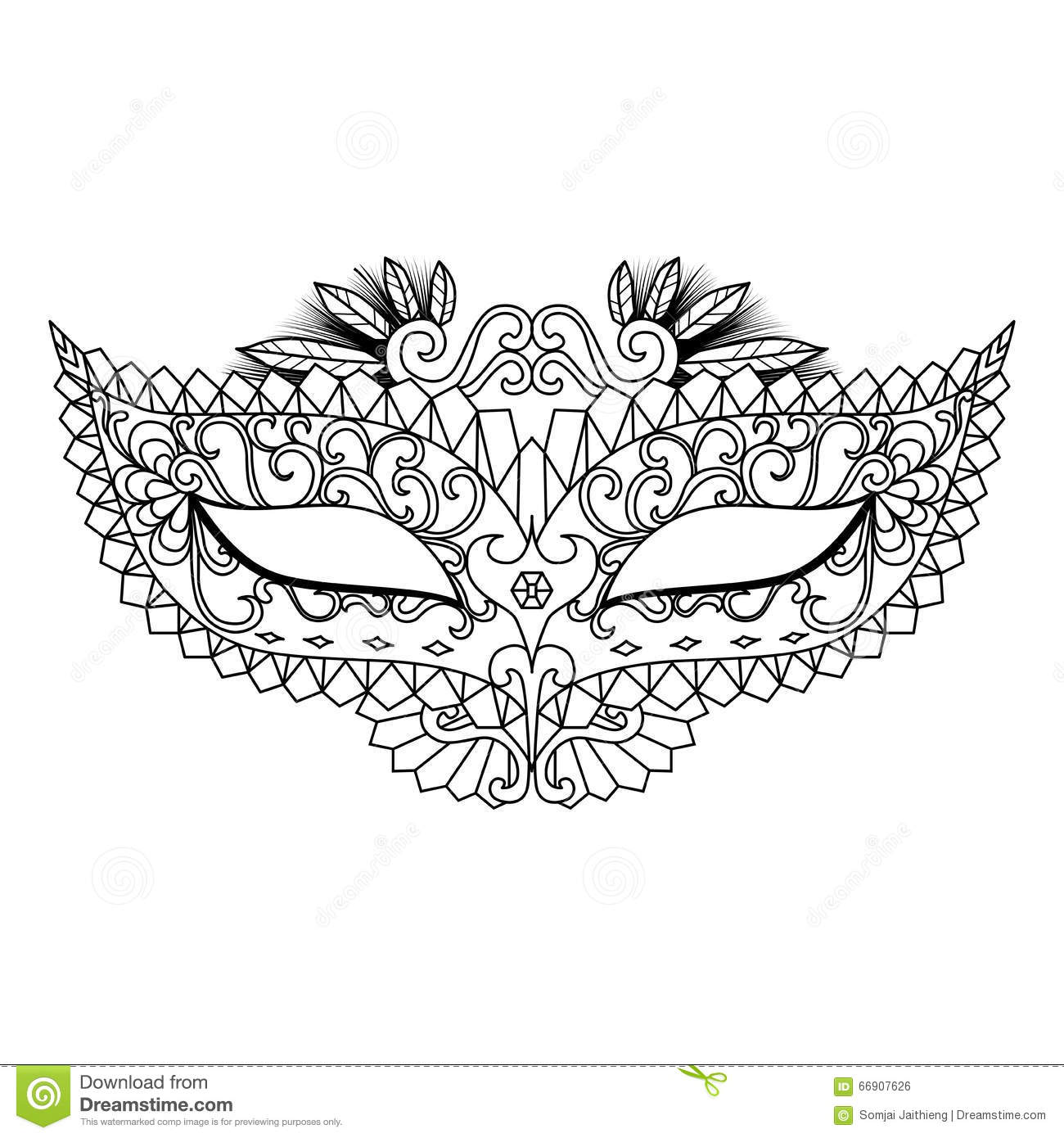 free coloring pages mardi gras : Mardi Gras Carnival Mask For Coloring Book And Other Decorations Royalty Free Stock Image