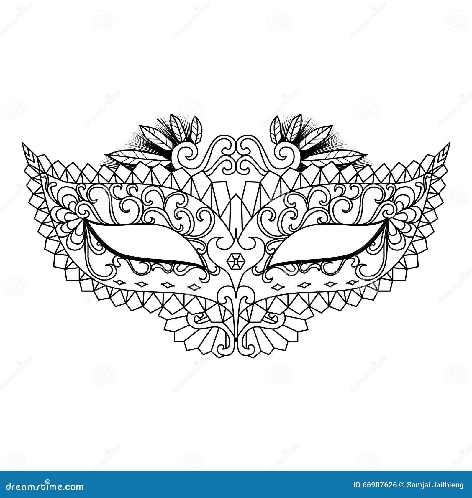 Mardi Gras Carnival Mask Para El Libro De Colorear Y Otras ...