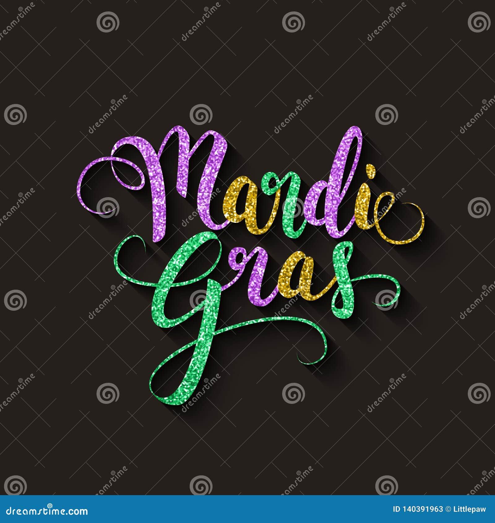Mardi Gras decorative calligraphic lettering, flyer template, vector illustration
