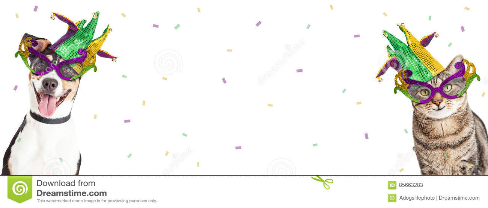 Mardi Gras Dog et Cat Horizontal Banner