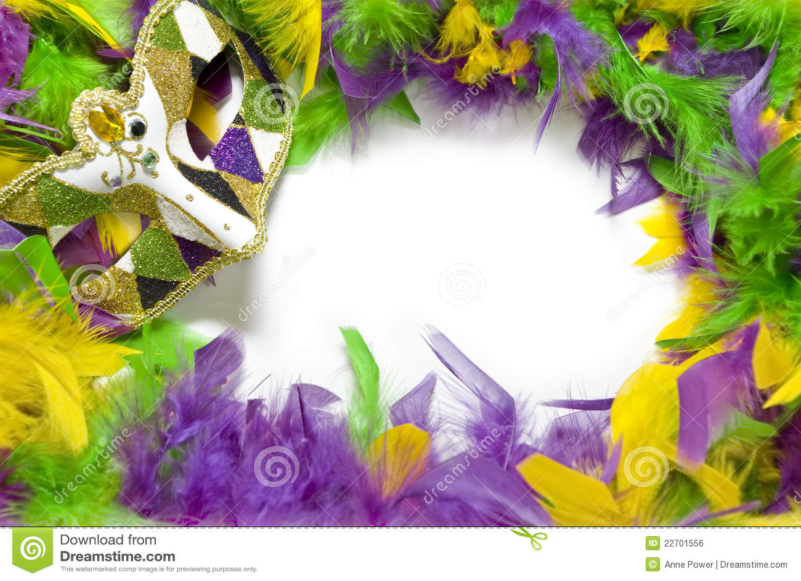 Mardi Gras Feather & Mask Frame Royalty Free Stock Image - Image: 22701556