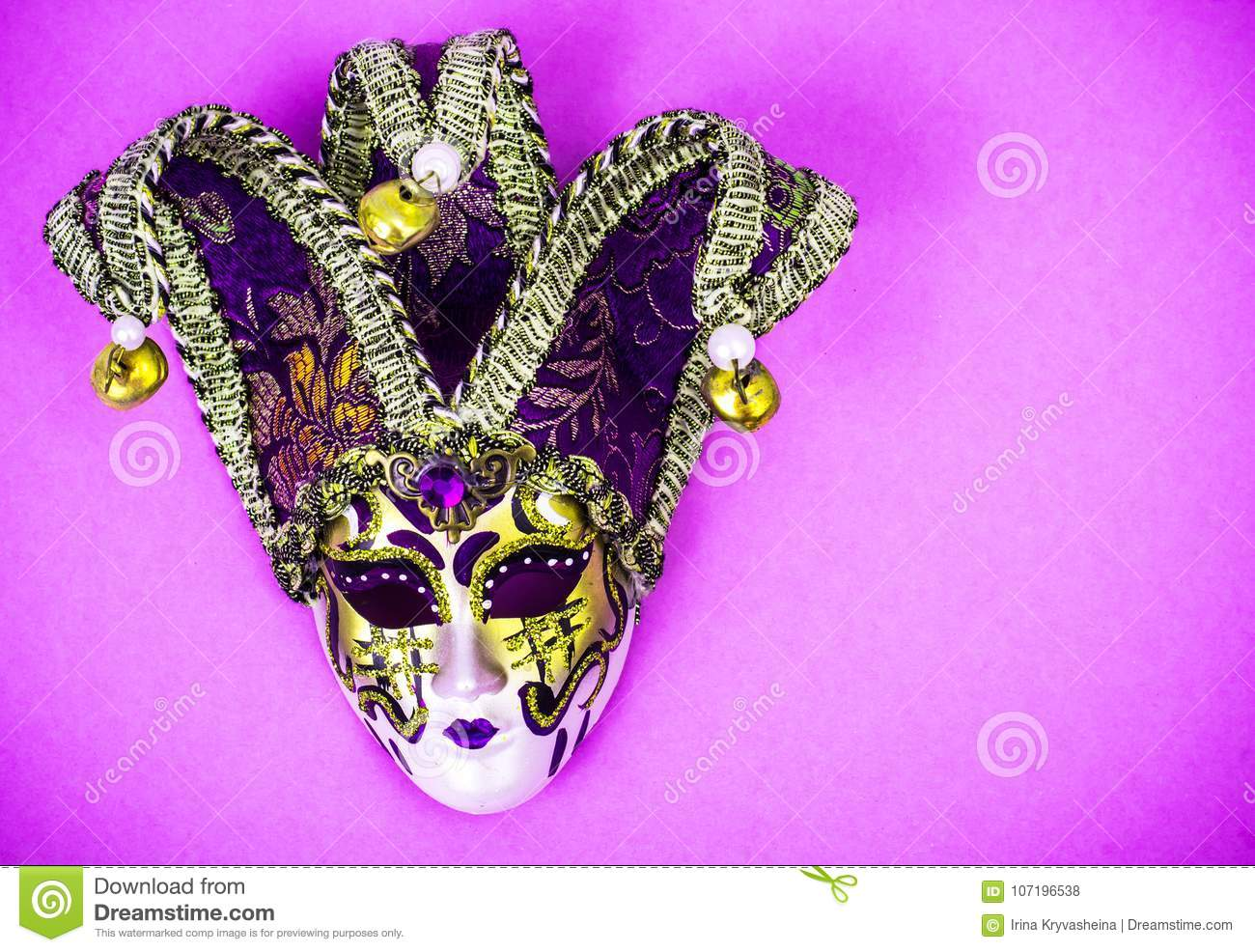 82cbf74e5802 Royalty-Free Stock Photo. Mardi Gras Festival. Luxurious masquerade  Venetian carnival mask on purple background