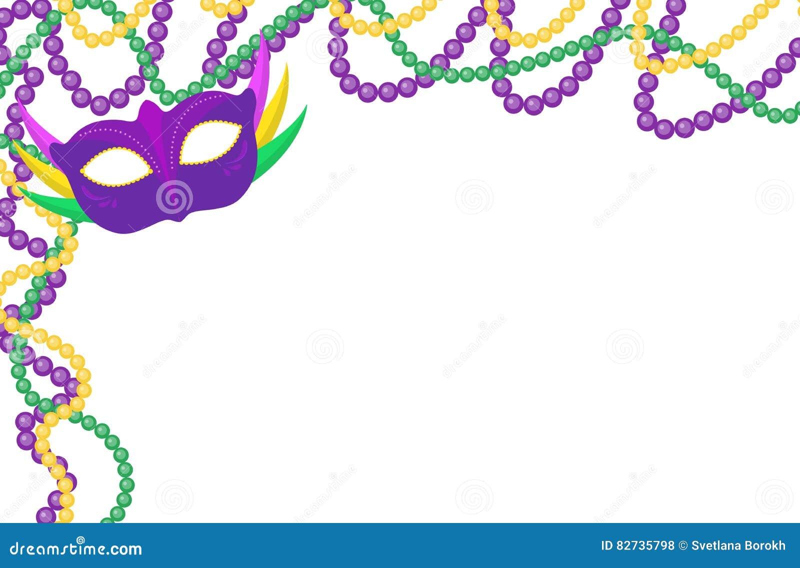 Mardi Gras Gotea El Marco Coloreado Con Una Máscara, Aislada En El ...