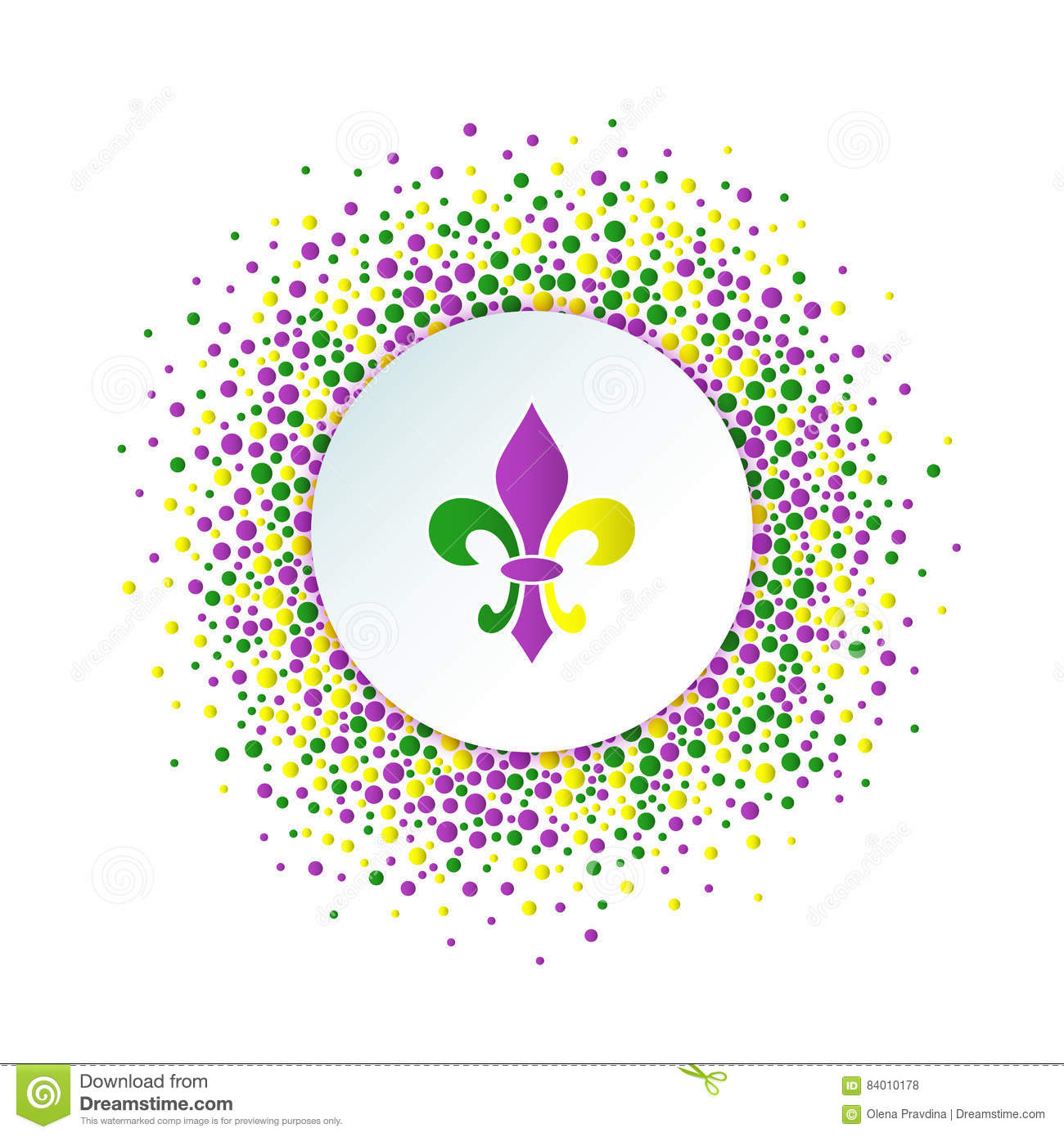 Round Dotted Frame With Colorful Fleur De Lis