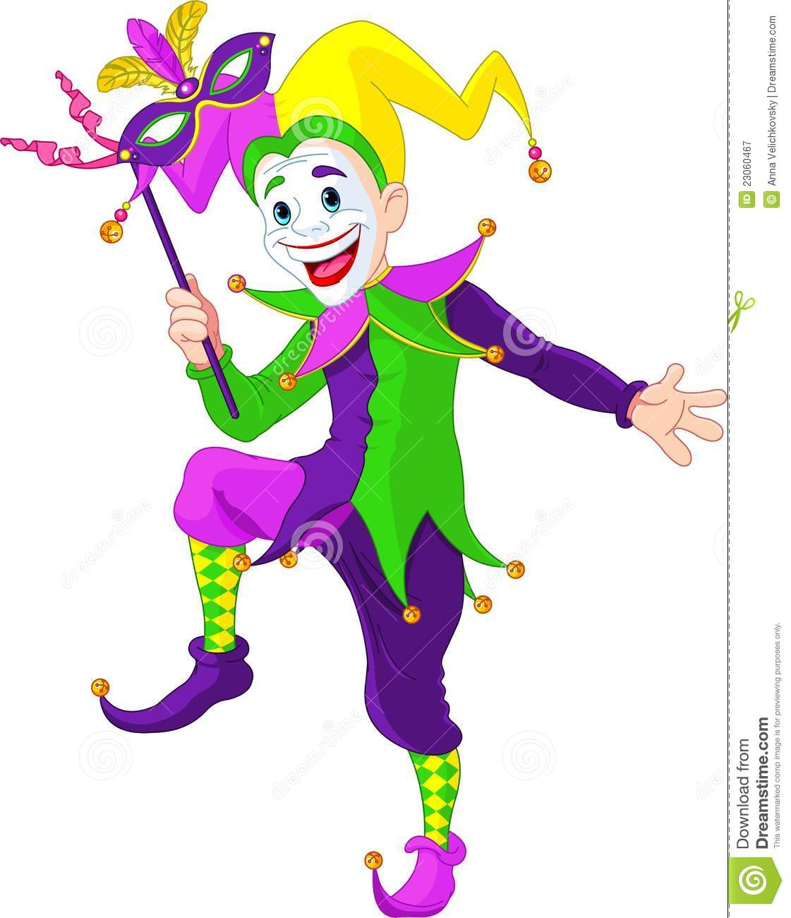 Clip art illustration of a cartoon Mardi Gras jester holding a mask.