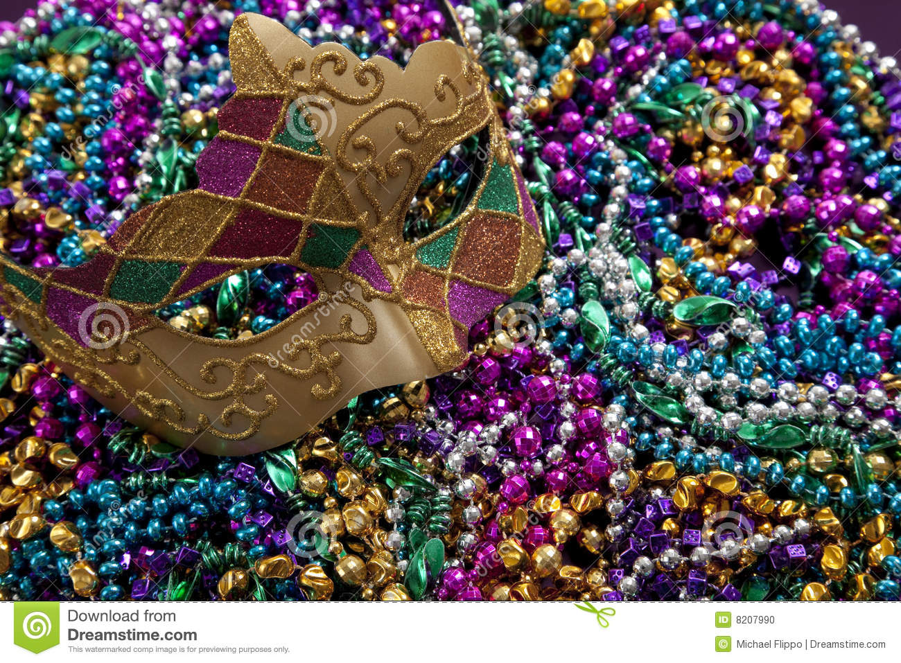 Mardi Gras Mask And Beads Stock Photo - Image: 8207990