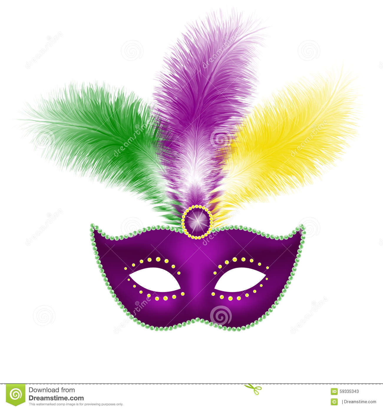Mardi Gras Mask Isolated On White Royalty Free Vector