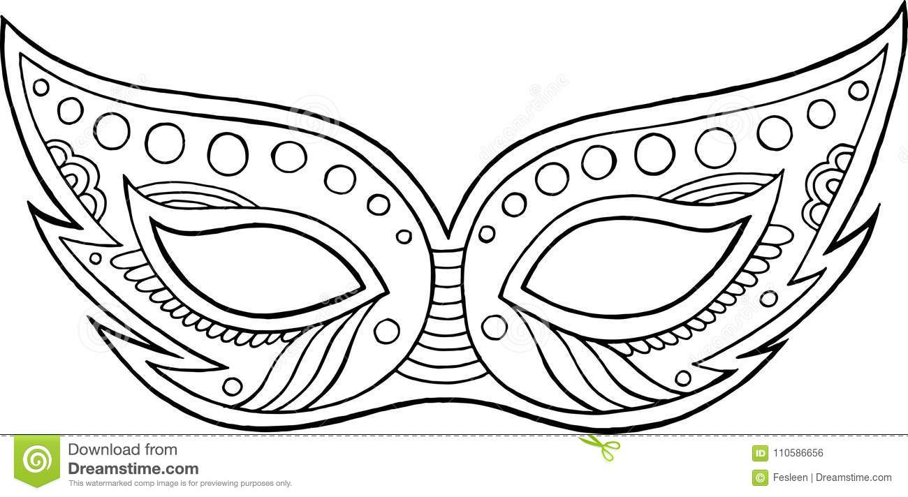 Mardi Gras Mask Outline Isolated Element Coloring Page For Ad