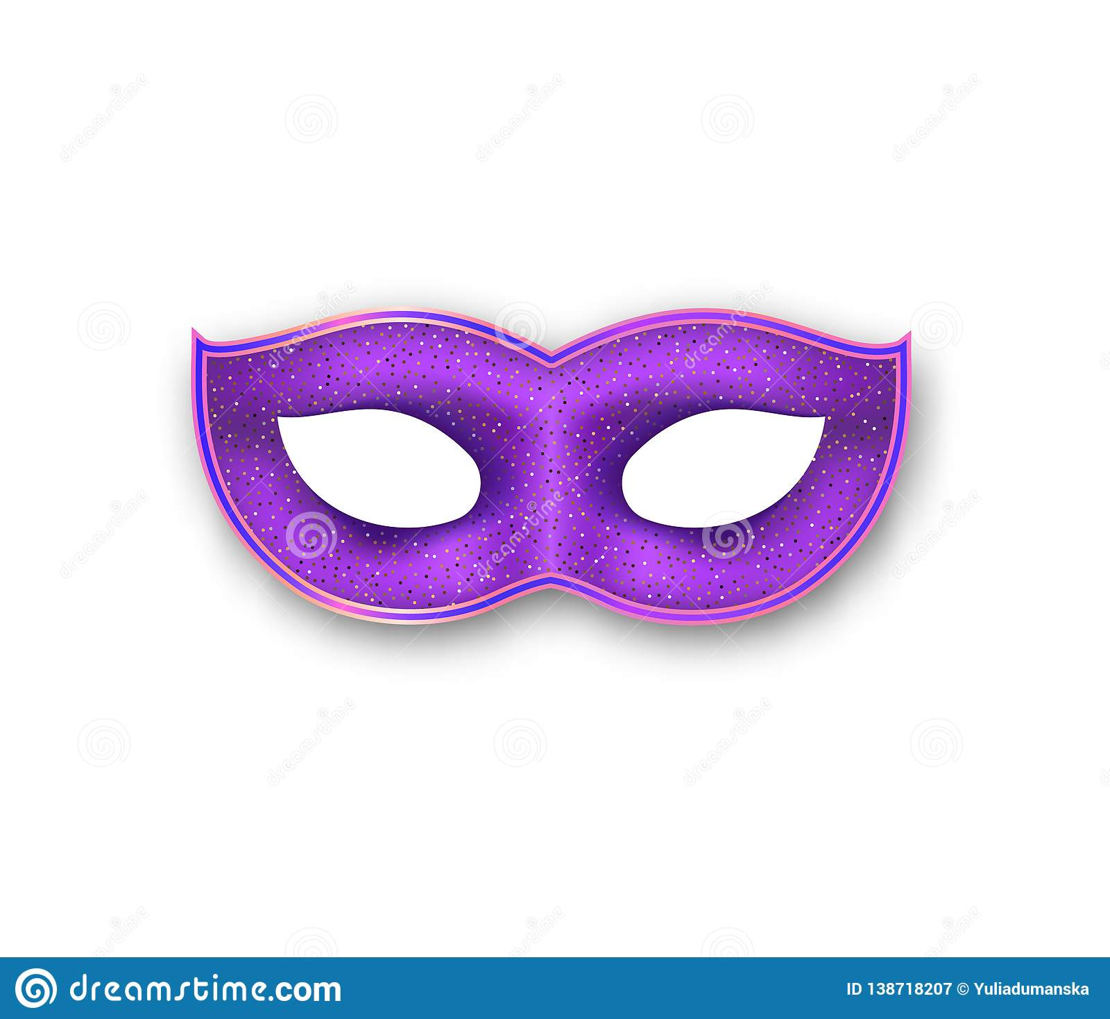 5cf5f9454692 Mardi Gras mask purple color with golden glitter. Venetian painted Carnival  Face Mask. Masquerade realistic colorful party decoration isolated on white  ...