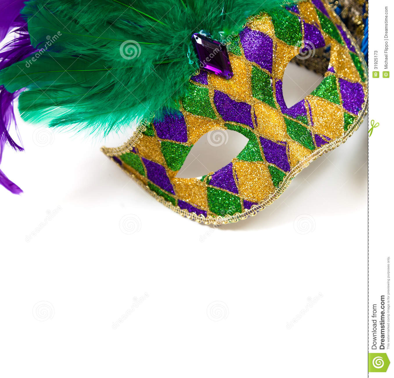 Mardi Gras Colors Background Mardi gras mask on a white