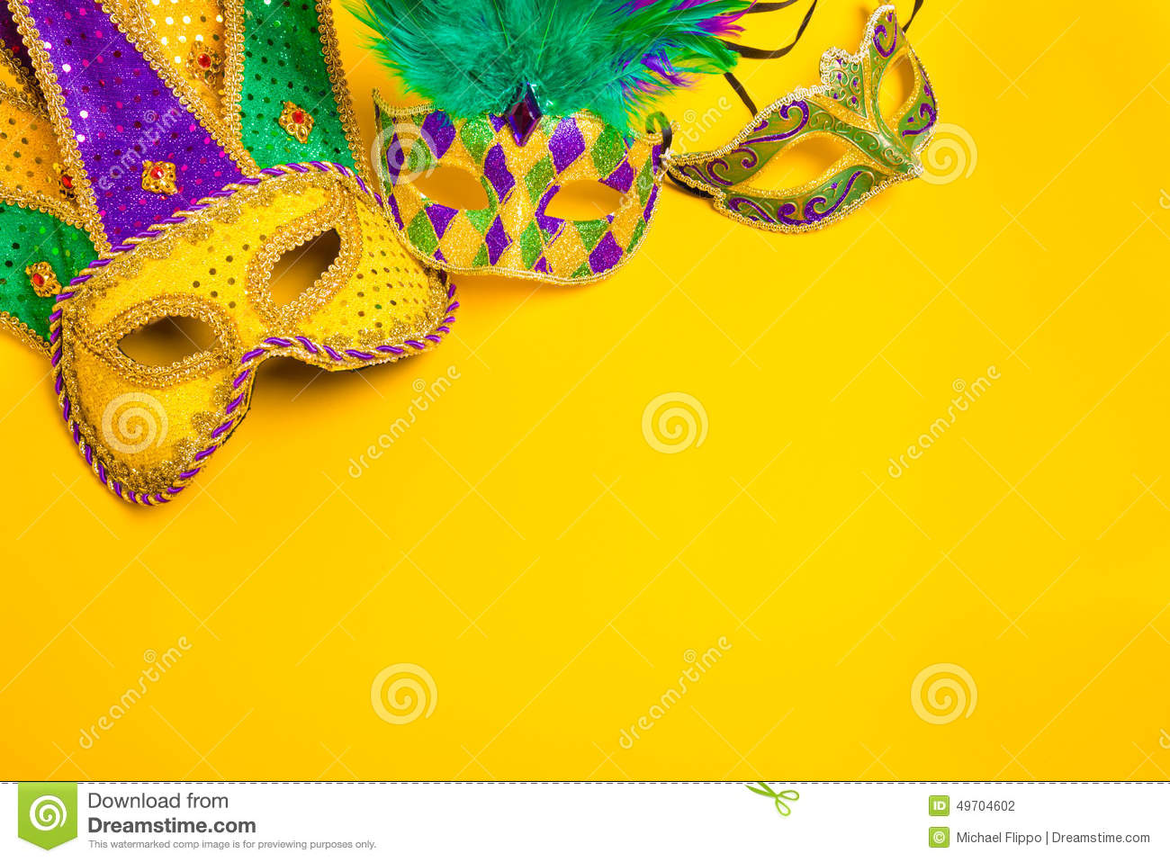 mardi gras mask on yellow background stock photo - image: 49704602, Powerpoint templates